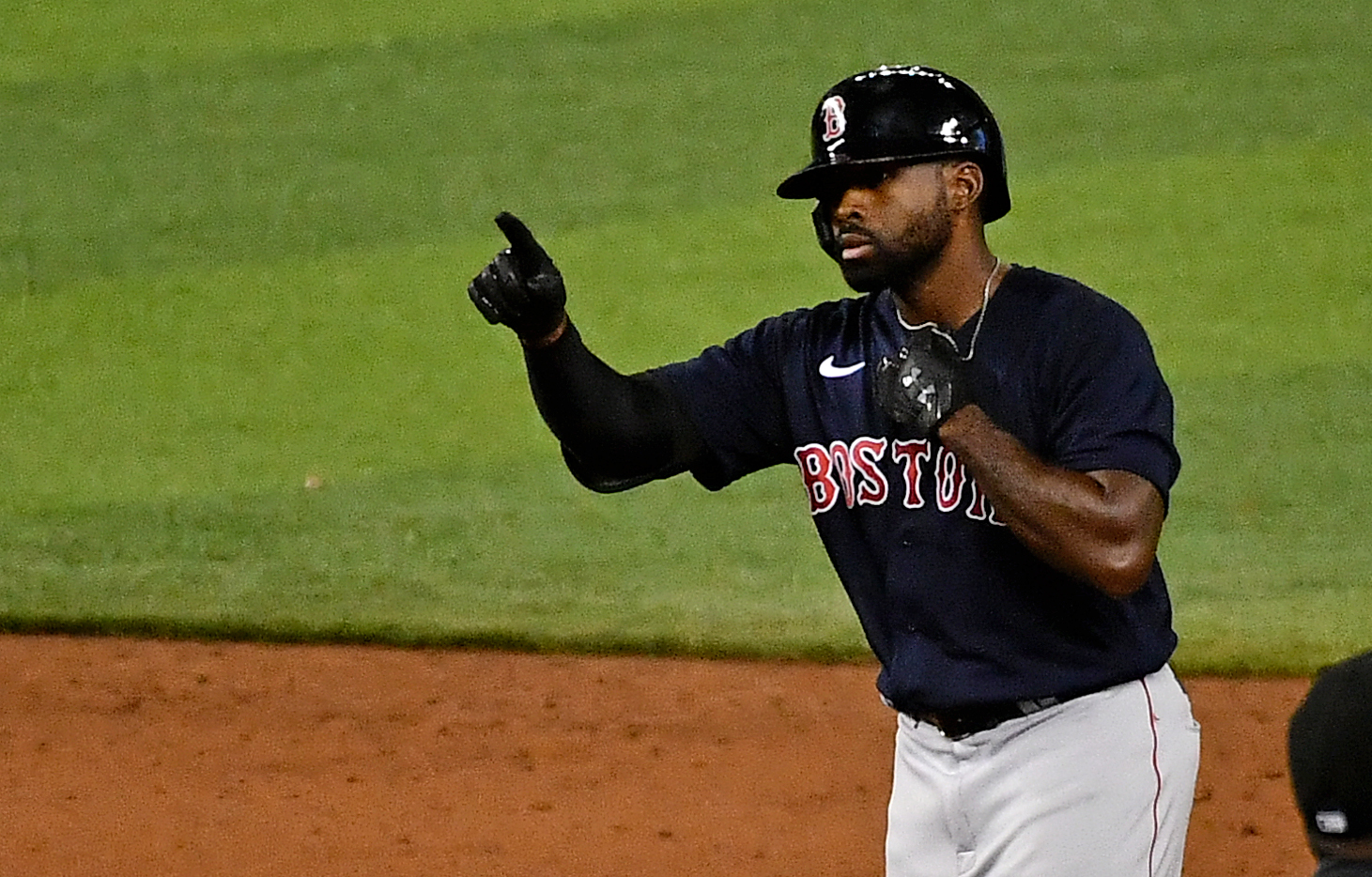 Boston Red Sox center fielder Jackie Bradley Jr. (19) reacts after doubling in a run in the 6th inning against the Miami Marlins at Marlins Park.