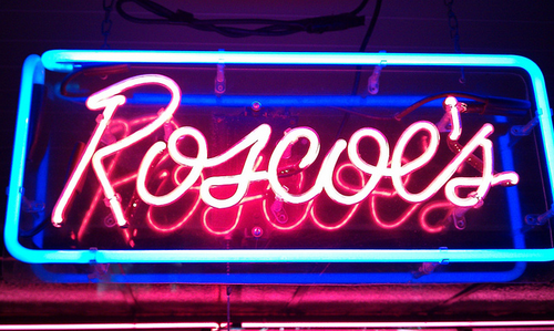 Signage at Roscoe's Chicken & Waffles.