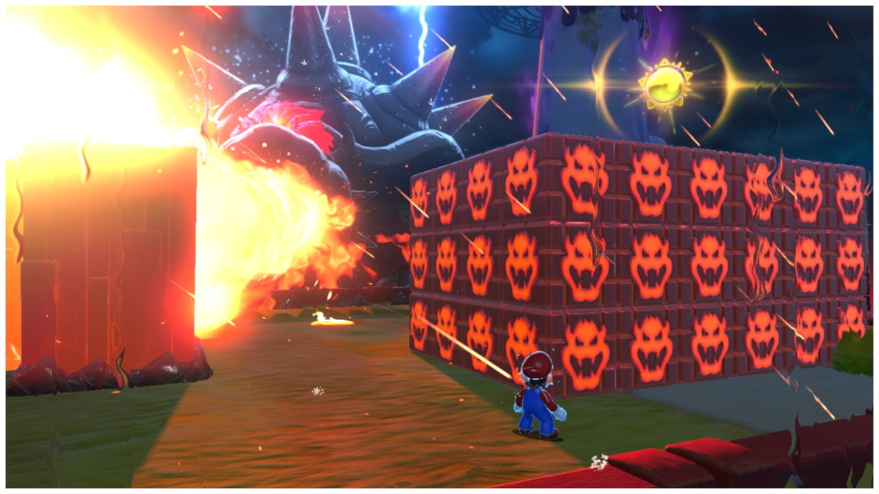 Fury Bowser spews fire as Mario stands behind a chunk of glowing blocks with Bowser's face on them