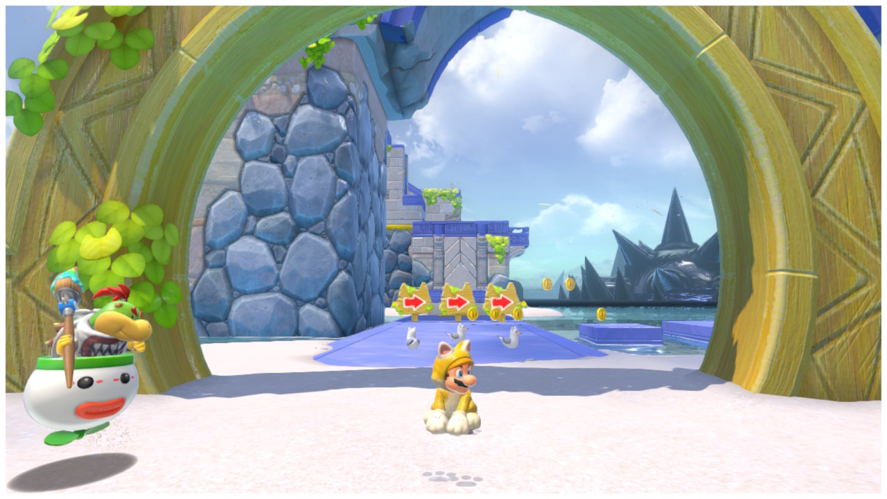 Cat Mario sits under the gate to Pounce Bounce Isle