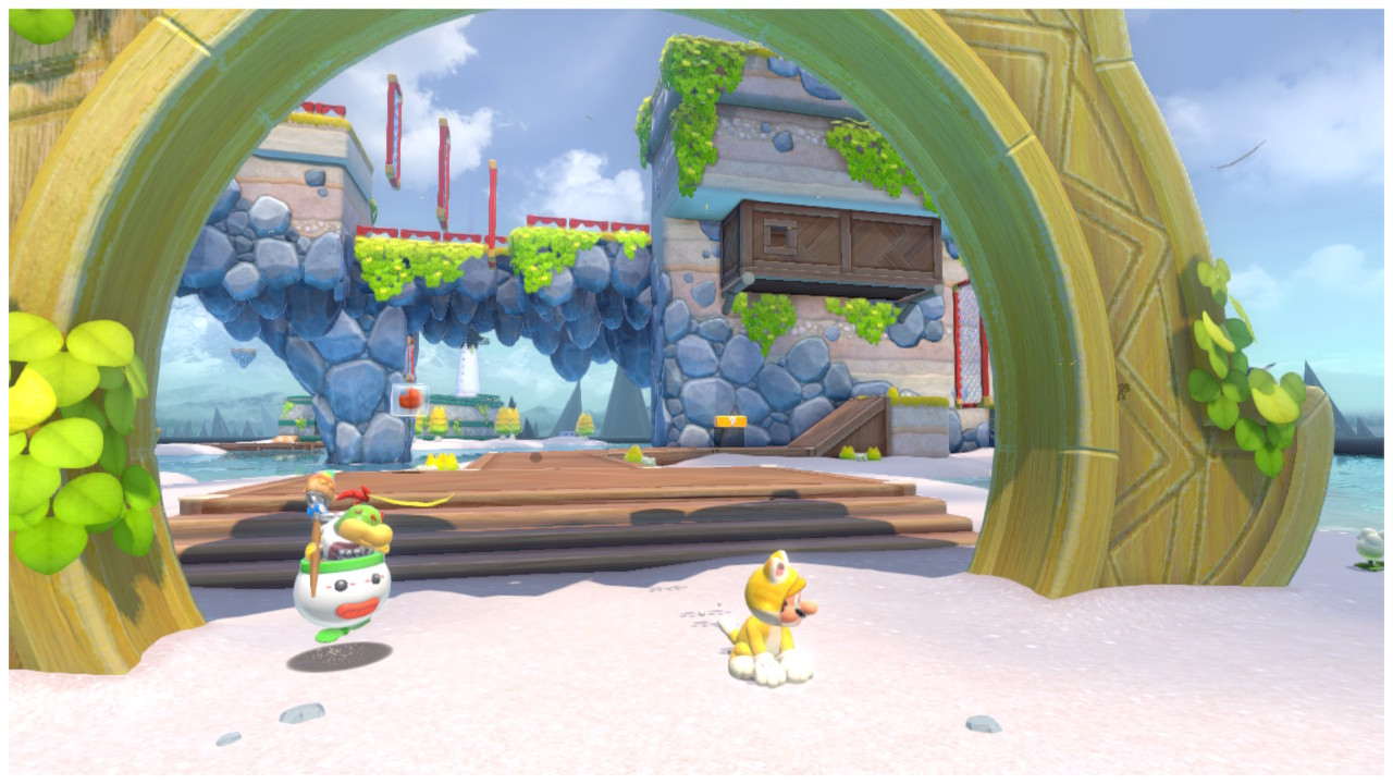 Cat Mario stands at the gates of Scamper Shores
