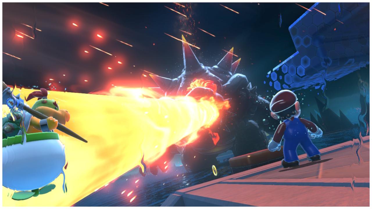 Fury Bowser blasts fire towards Mario and Bowser Jr.