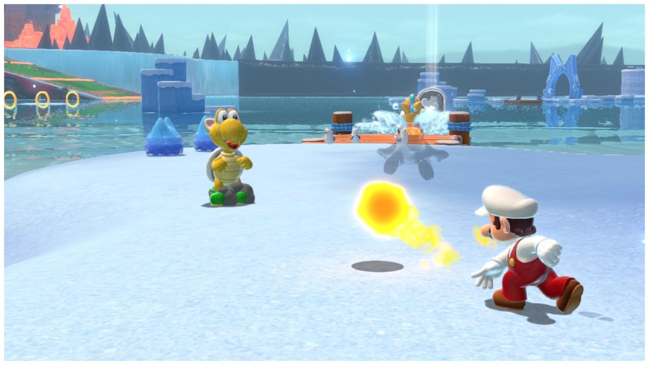 Fire Flower Mario throws a fireball at a Koopa
