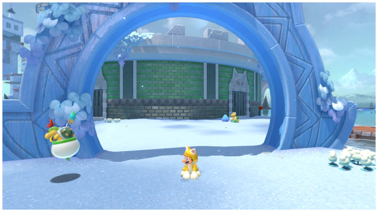 Mario stands under the gate to Clawswipe Colosseum