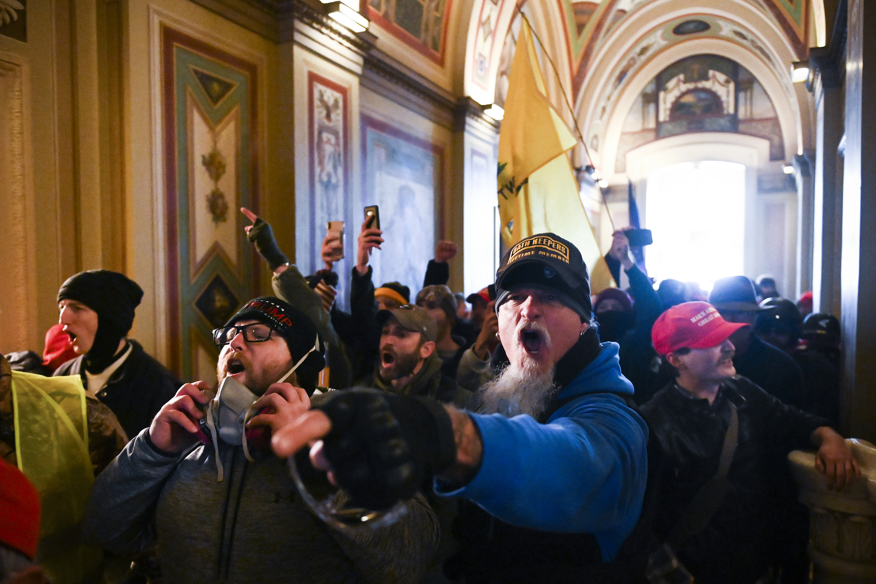 Rioters inside the Capitol building.