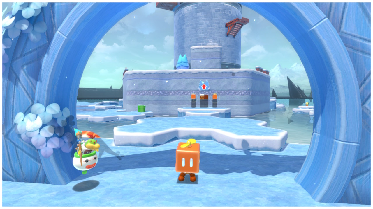 Mario stands in a Propeller Box at the gate to Crisp Climb Castle