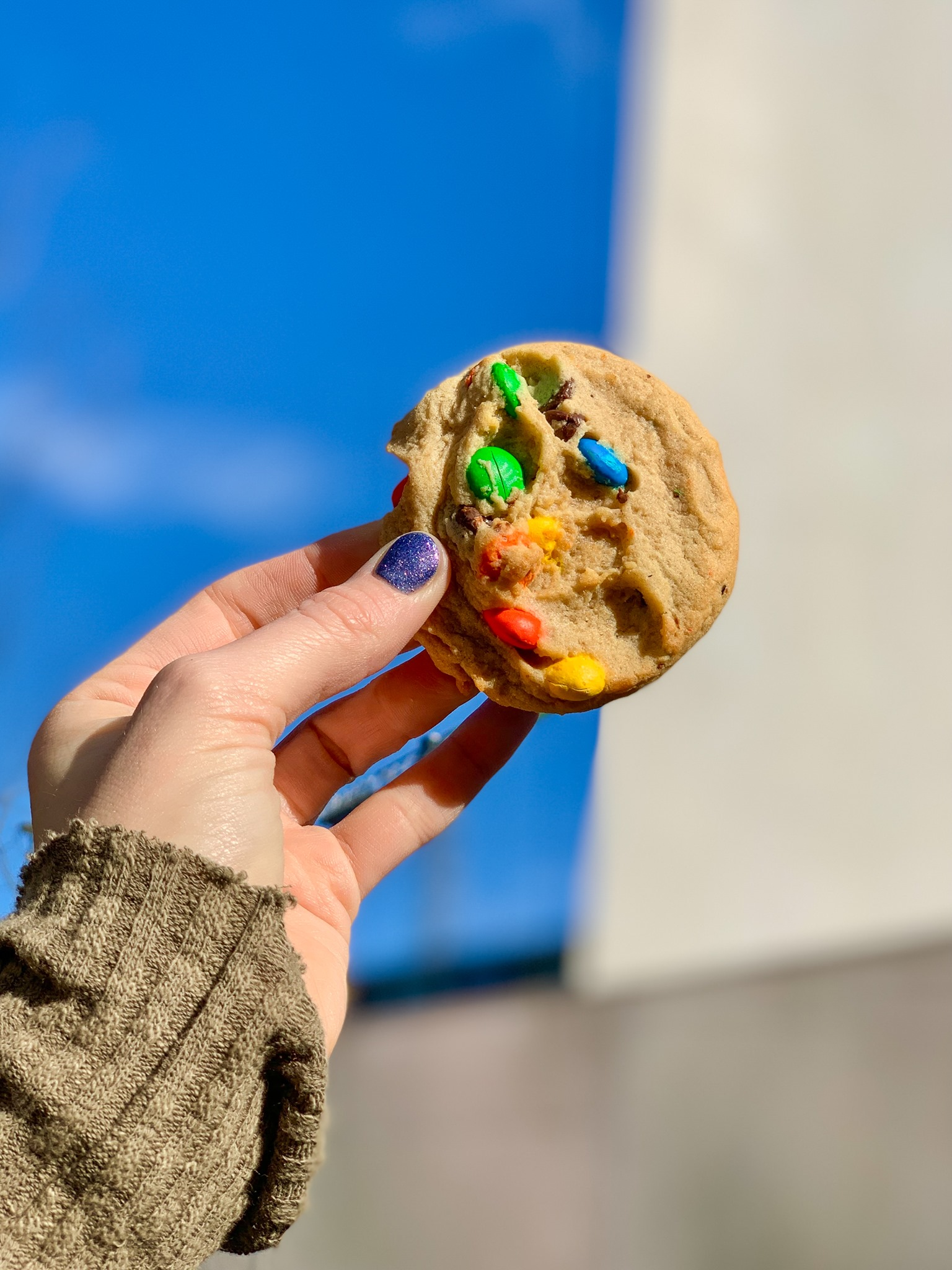 A white woman's hand holds a chocolate candy cookie up in the air