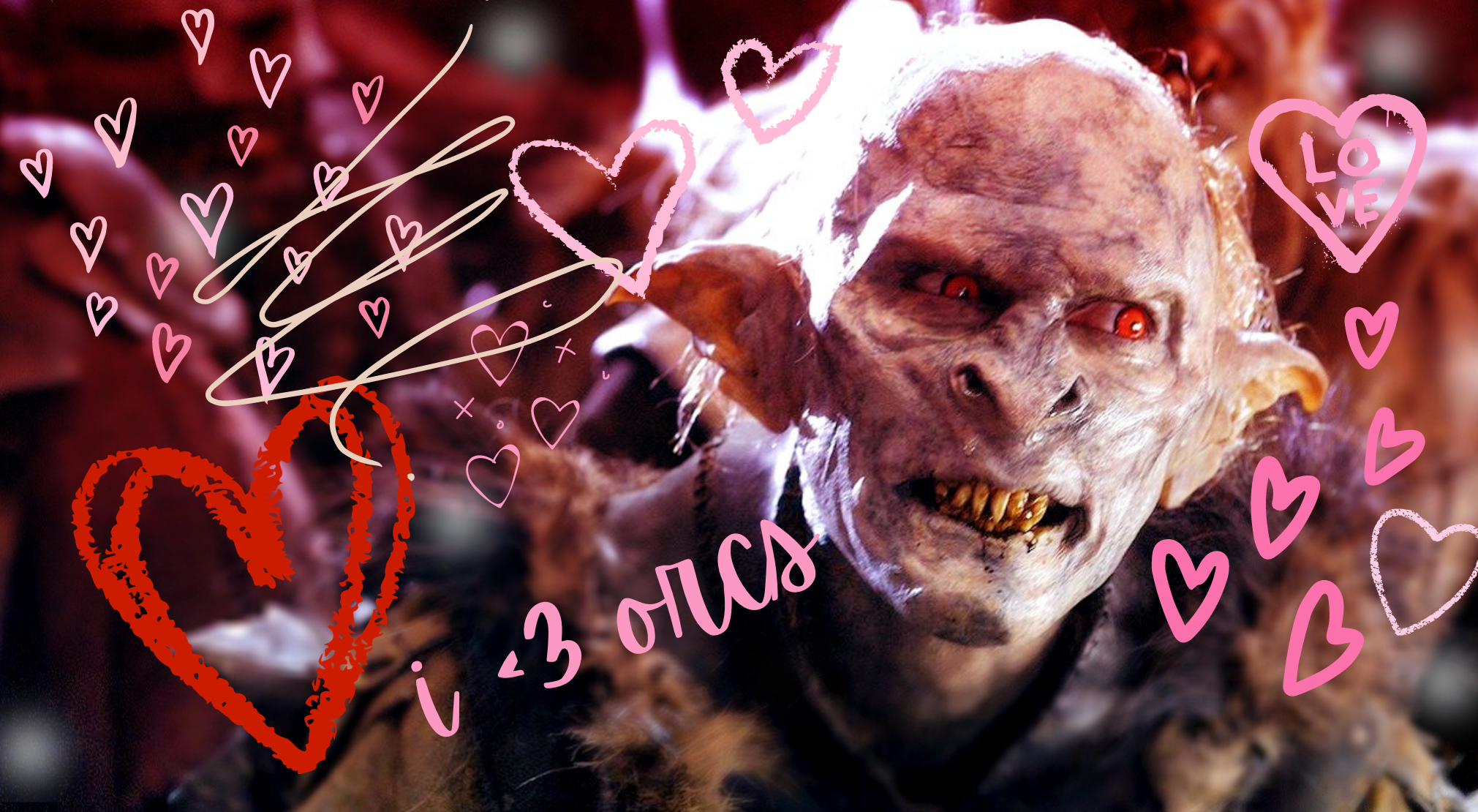 An orc from Lord of the Rings covered in hearts