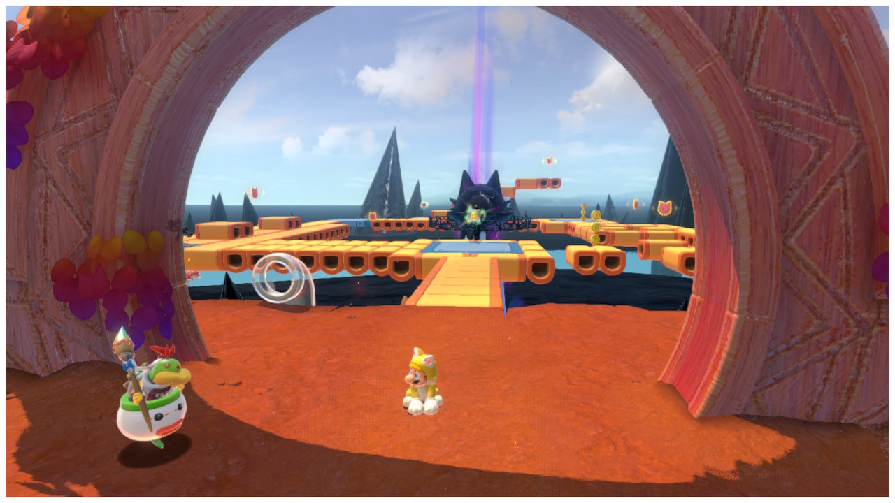 Mario stands under the entrance to Risky Whisker Island