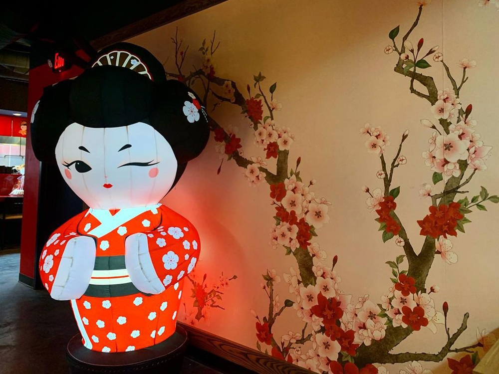 Sushi Ichiban mascot Ichi-jjang, at the new all-you-can-eat restaurant on Fremont East.