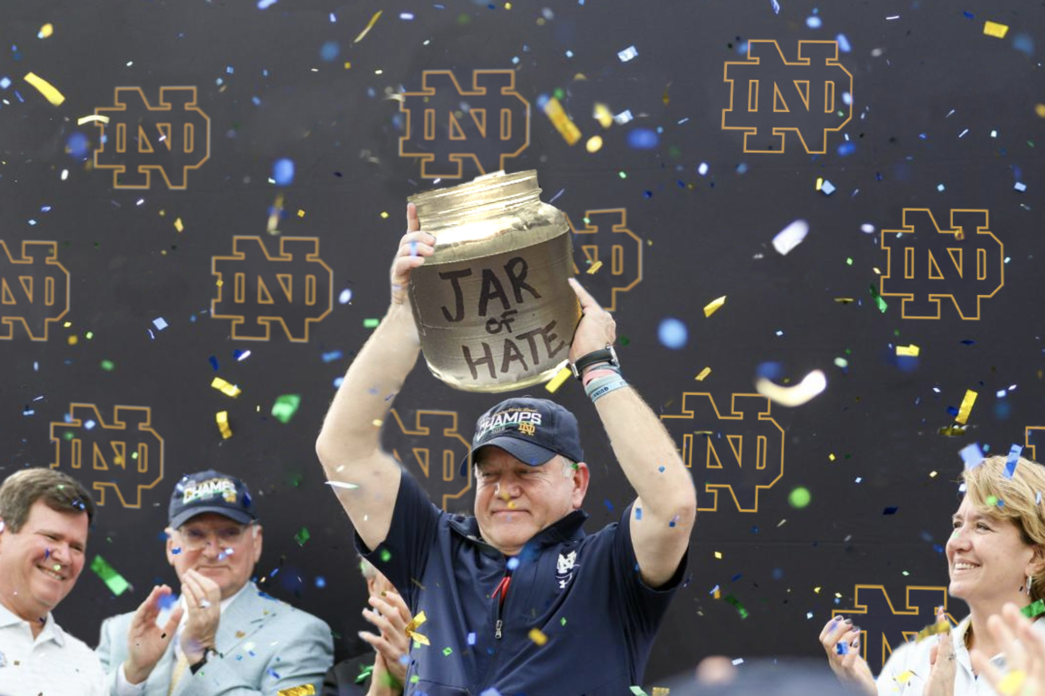 brian kelly notre dame football trophy