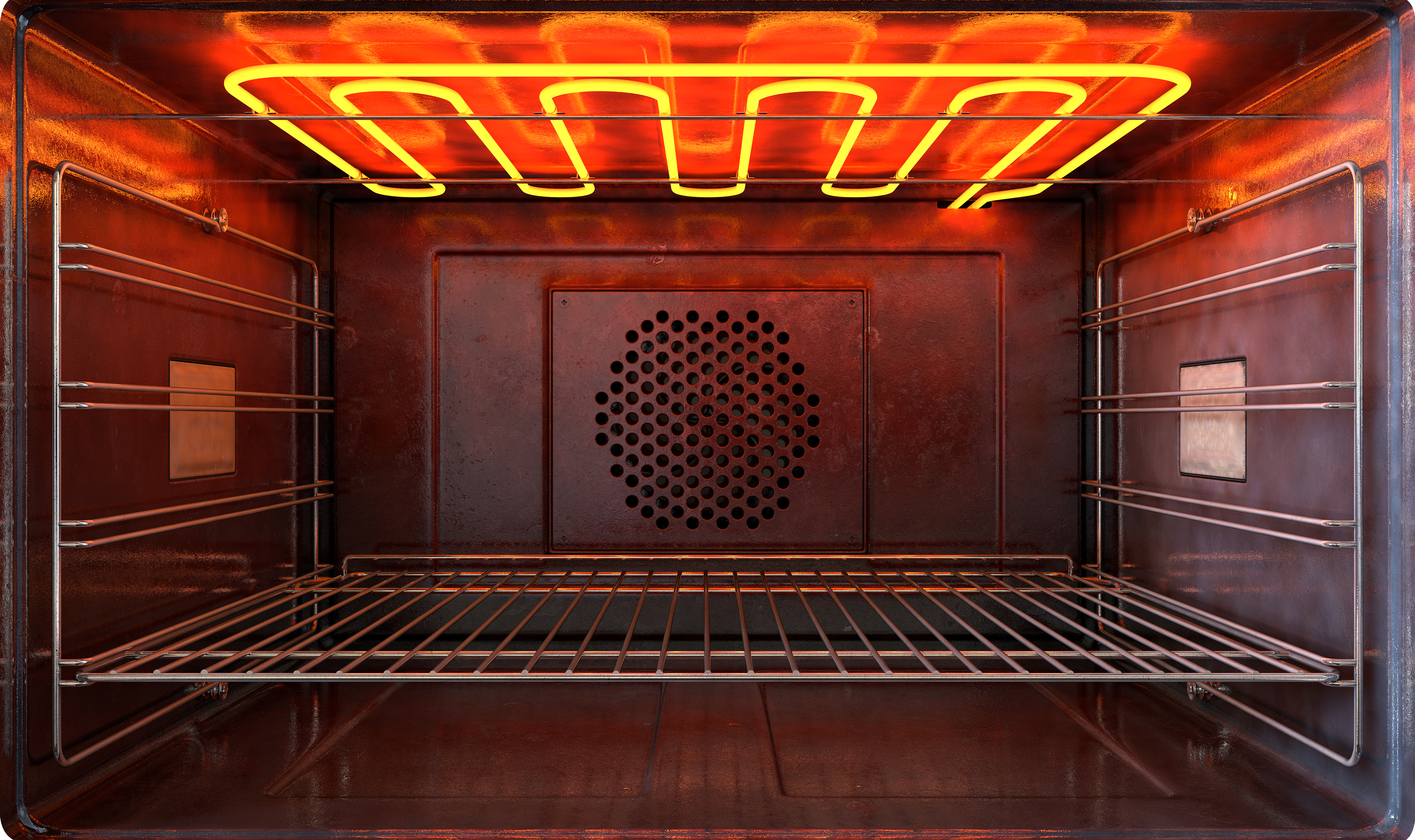 The interior of an empty oven with the broiler's heating element turned on and glowing red