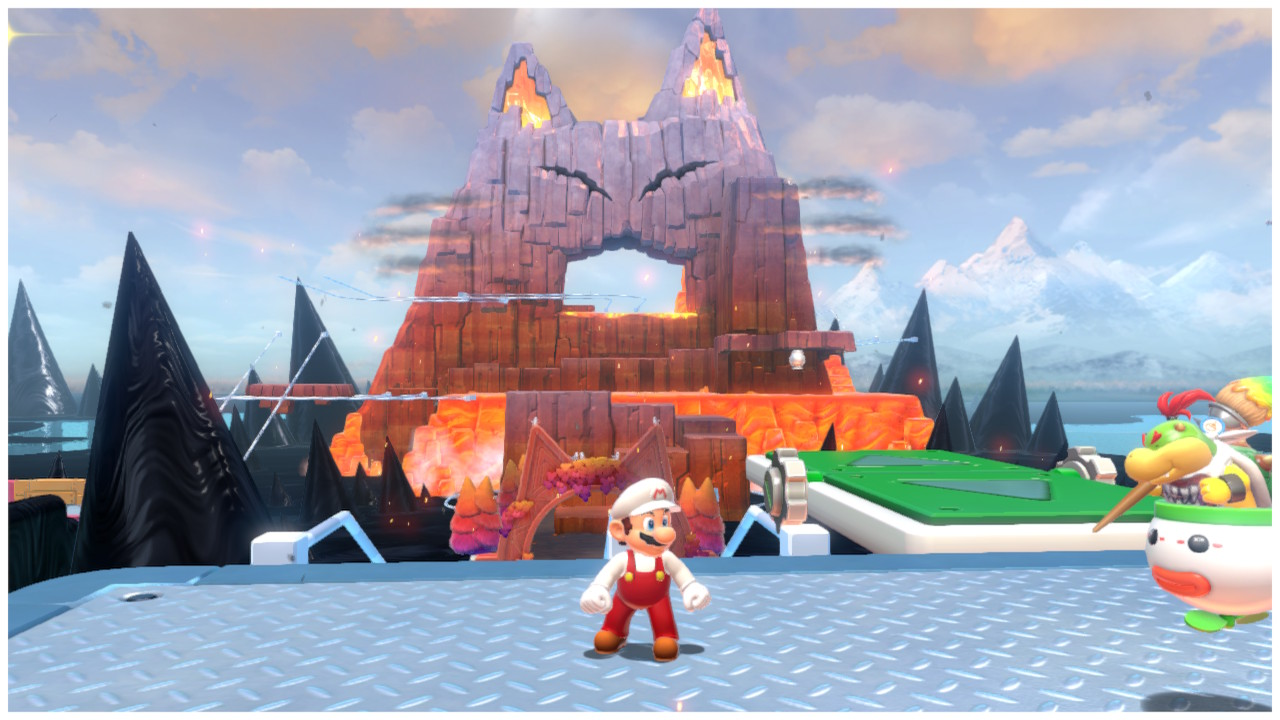 Fire Mario stands in front of Mount Magmeow