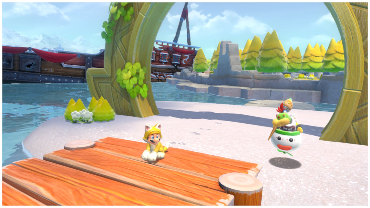 Cat Mario stands by the gate to Fur Step Island