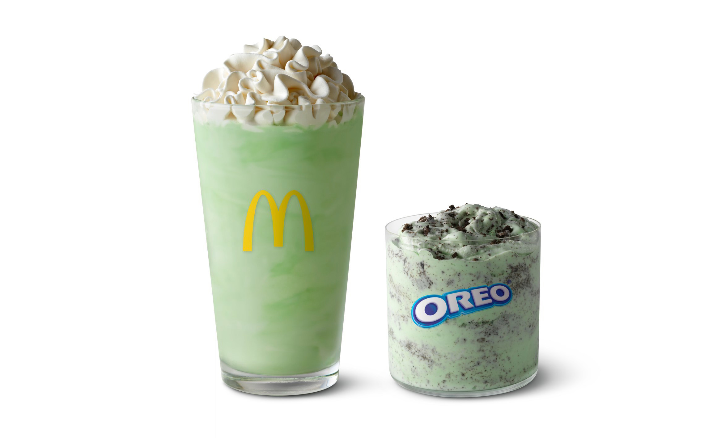 """The Shamrock Shake(left) will return to participating McDonald's restaurants nationwide Feb. 15 """"to mark the first green of spring."""" Itwill be joined on the menu by the Oreo Shamrock McFlurry (right)."""