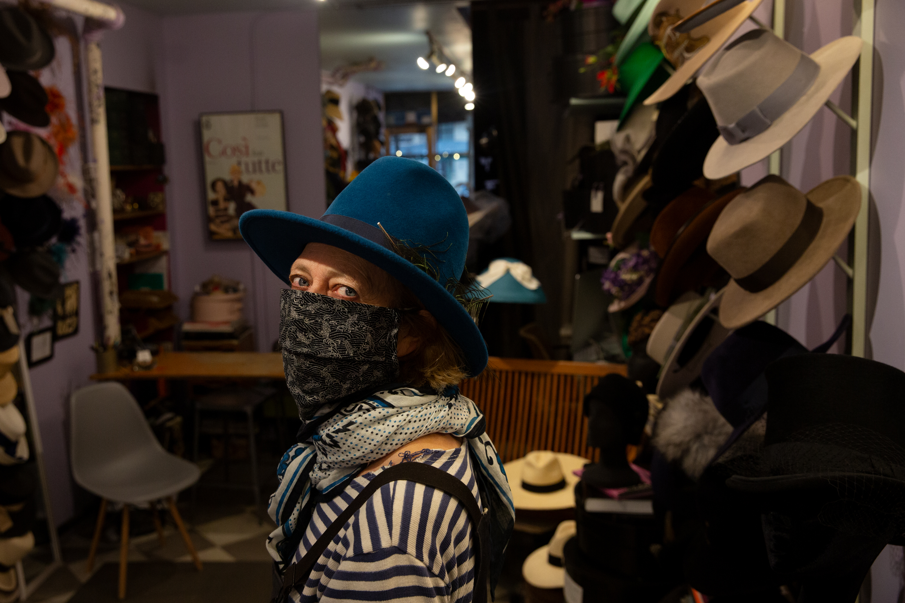 SoHo's The Hat Shop owner Linda Pagan has been working with a coalition so support small businesses during the coronavirus outbreak, Feb. 9, 2021.