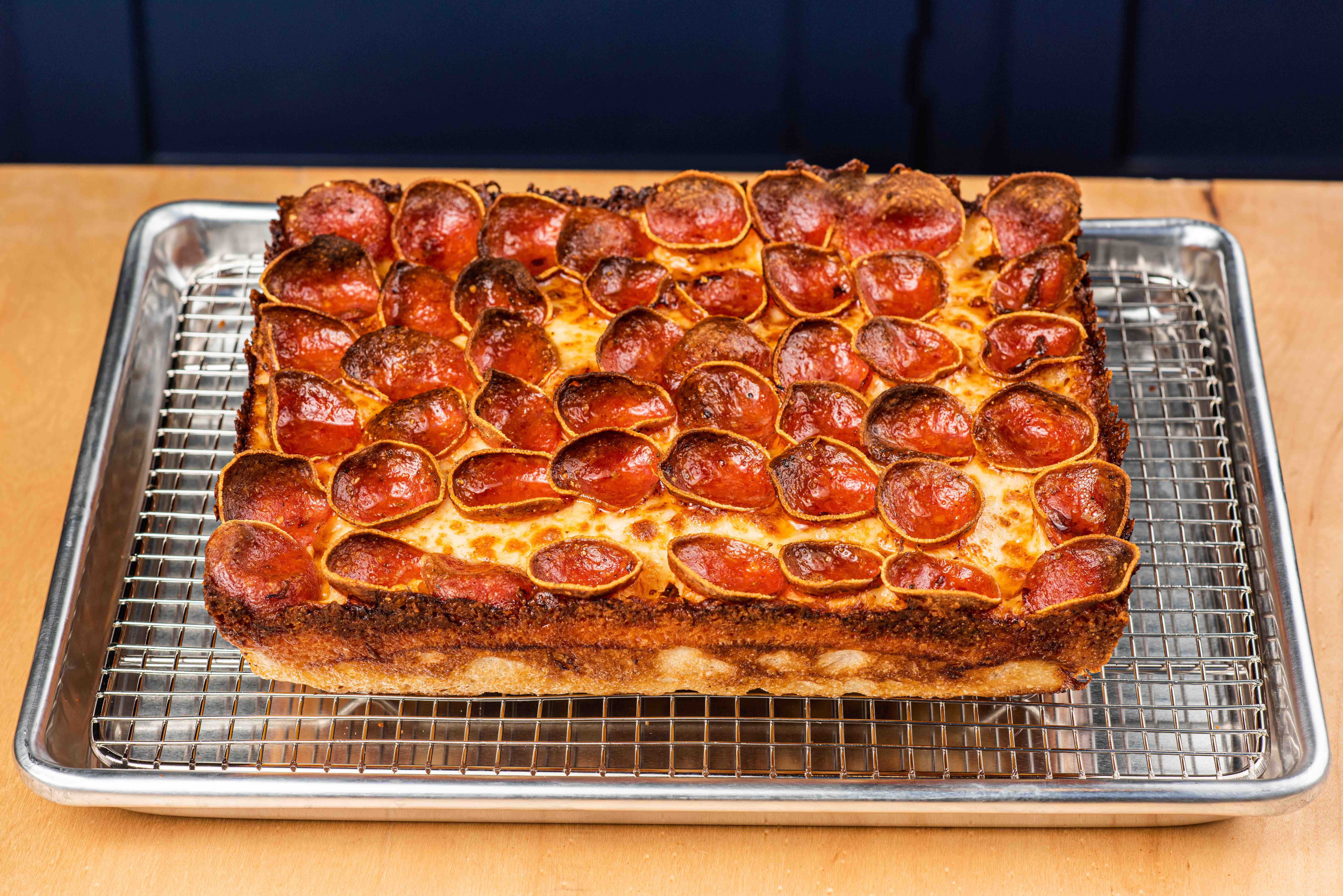 Rectangular Detroit-style pizza with pepperoni