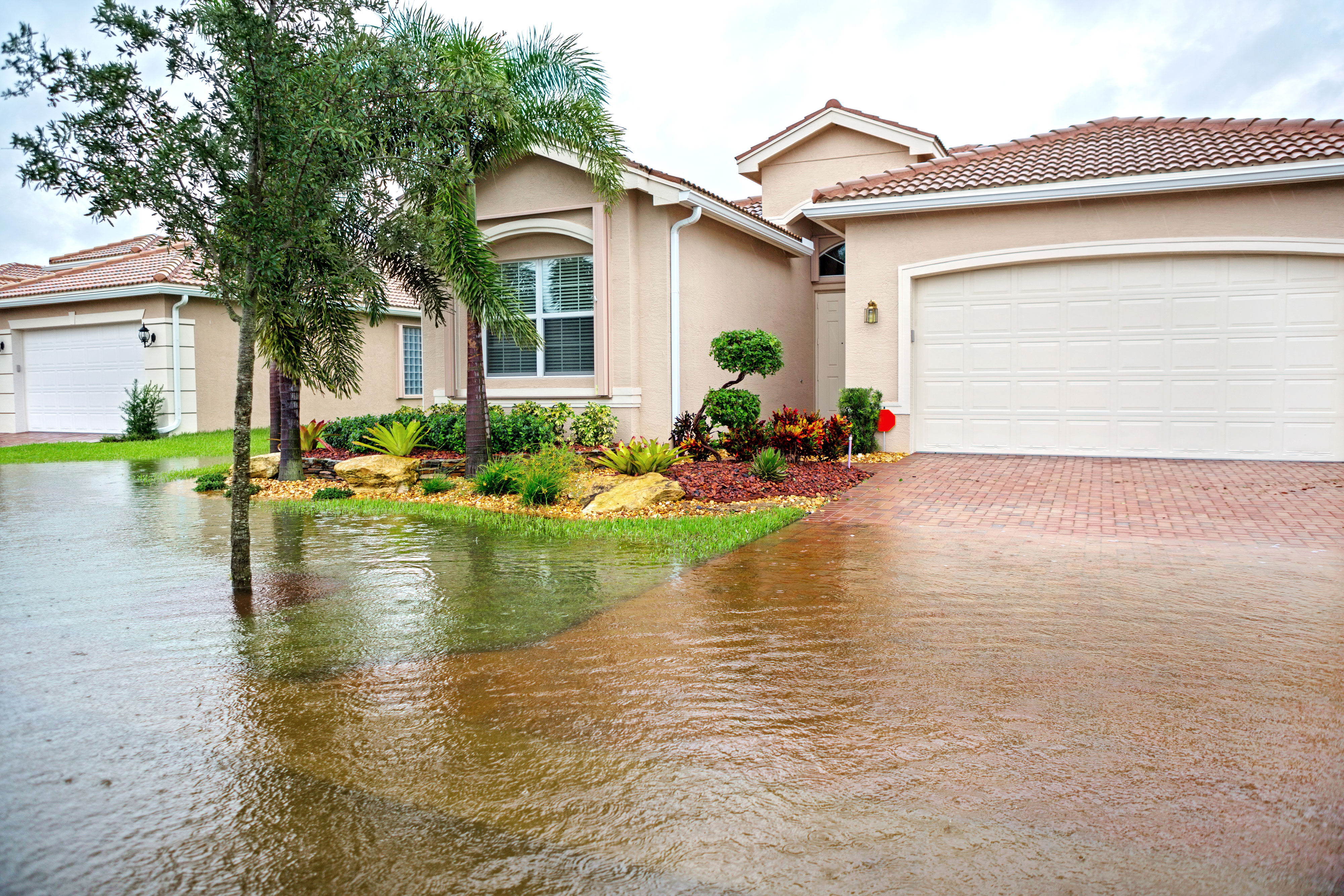 Flood water rising to house