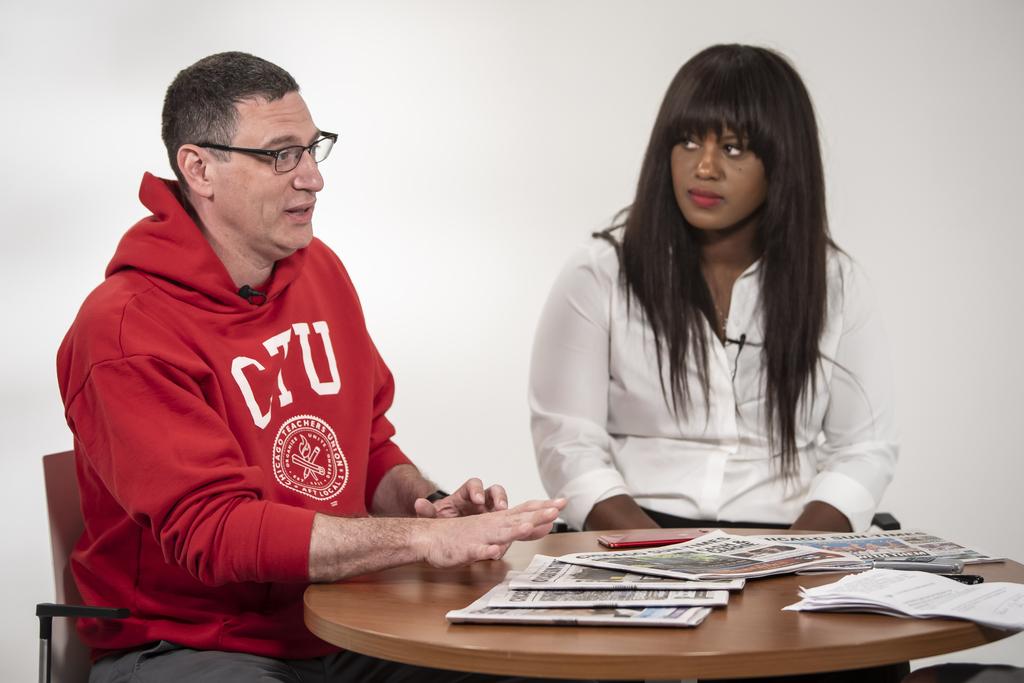 Chicago Teachers Union President Jesse Sharkey and Vice President Stacy Davis Gates, interviewed by Sun-Times City Hall reporter Fran Spielman.