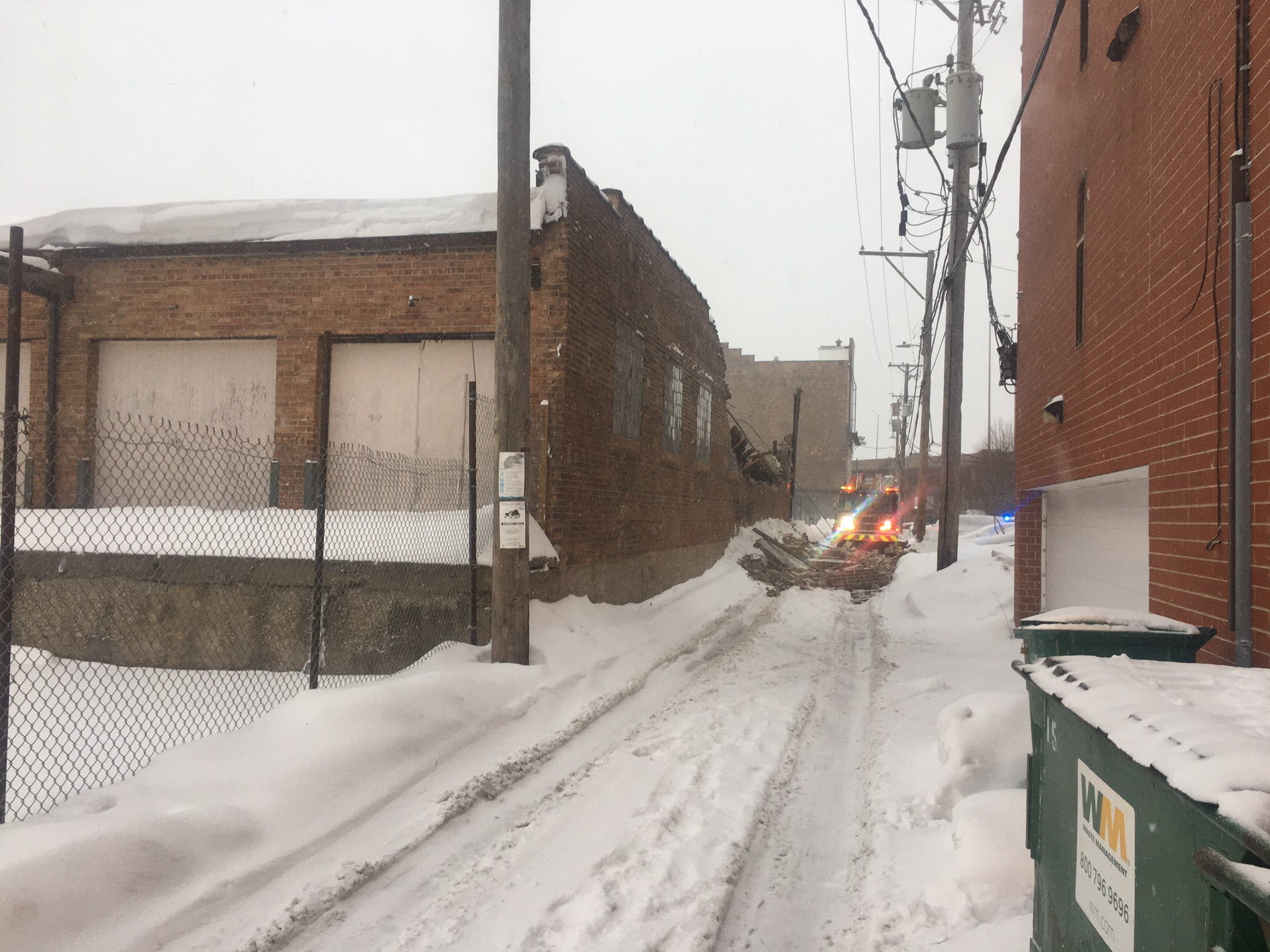 Fire crews responded to a vacant building collapse Feb. 15, 2021 in Bridgeport.