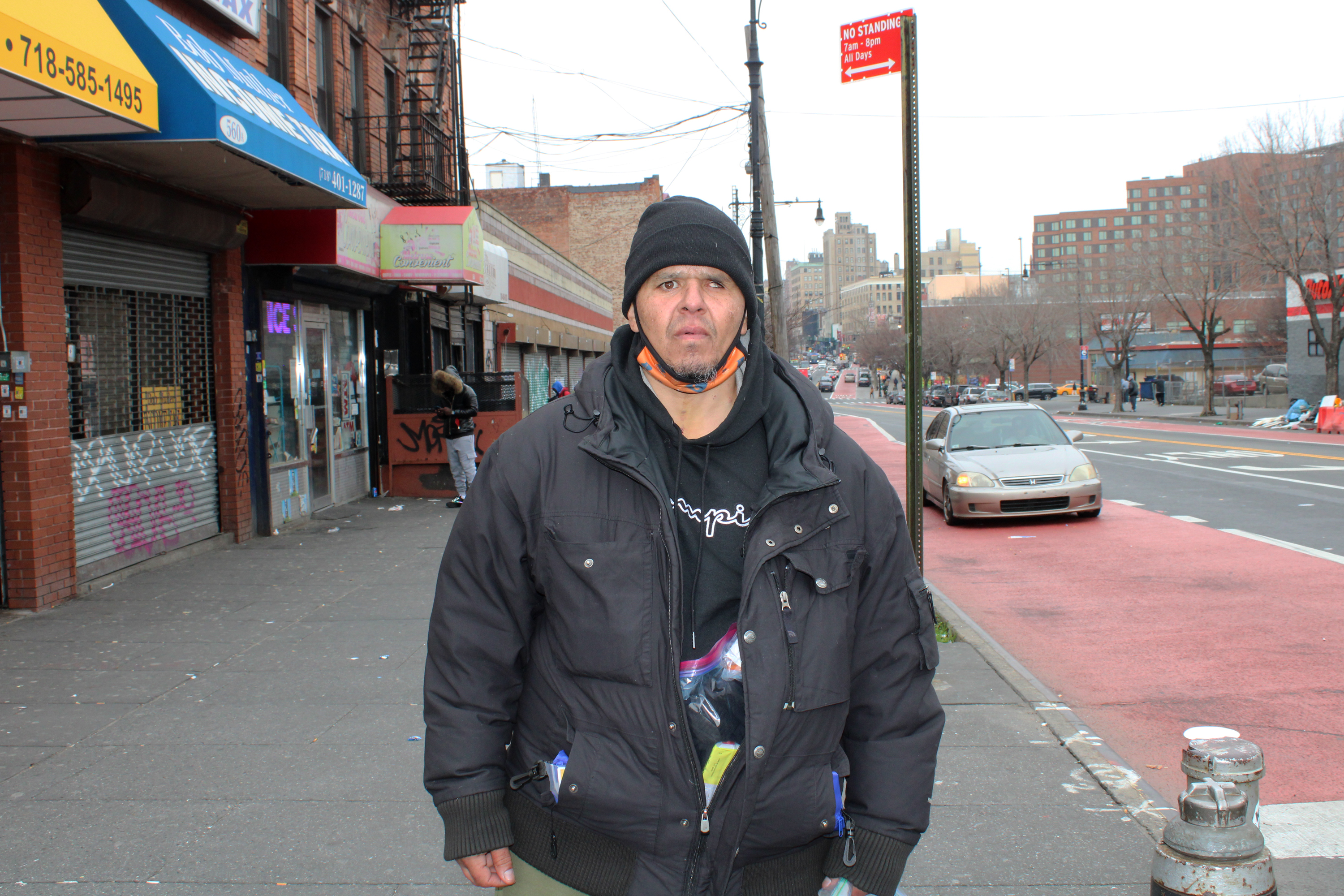 Angel Melendez carries multiple Narcan bottles on him, since, he says, overdoses have spiked in the 'The Hub,' the South Bronx neighborhood where he and others inject drugs. He has reversed at least six overdoses in the past few months, he says.