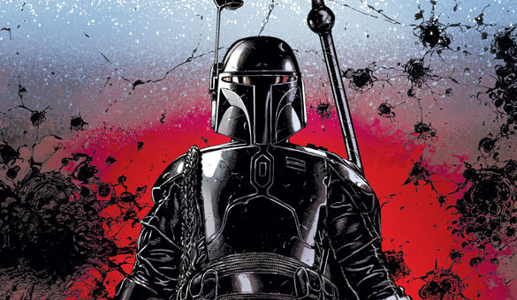 Boba Fett in new Marvel Comics series in black and white against a red background
