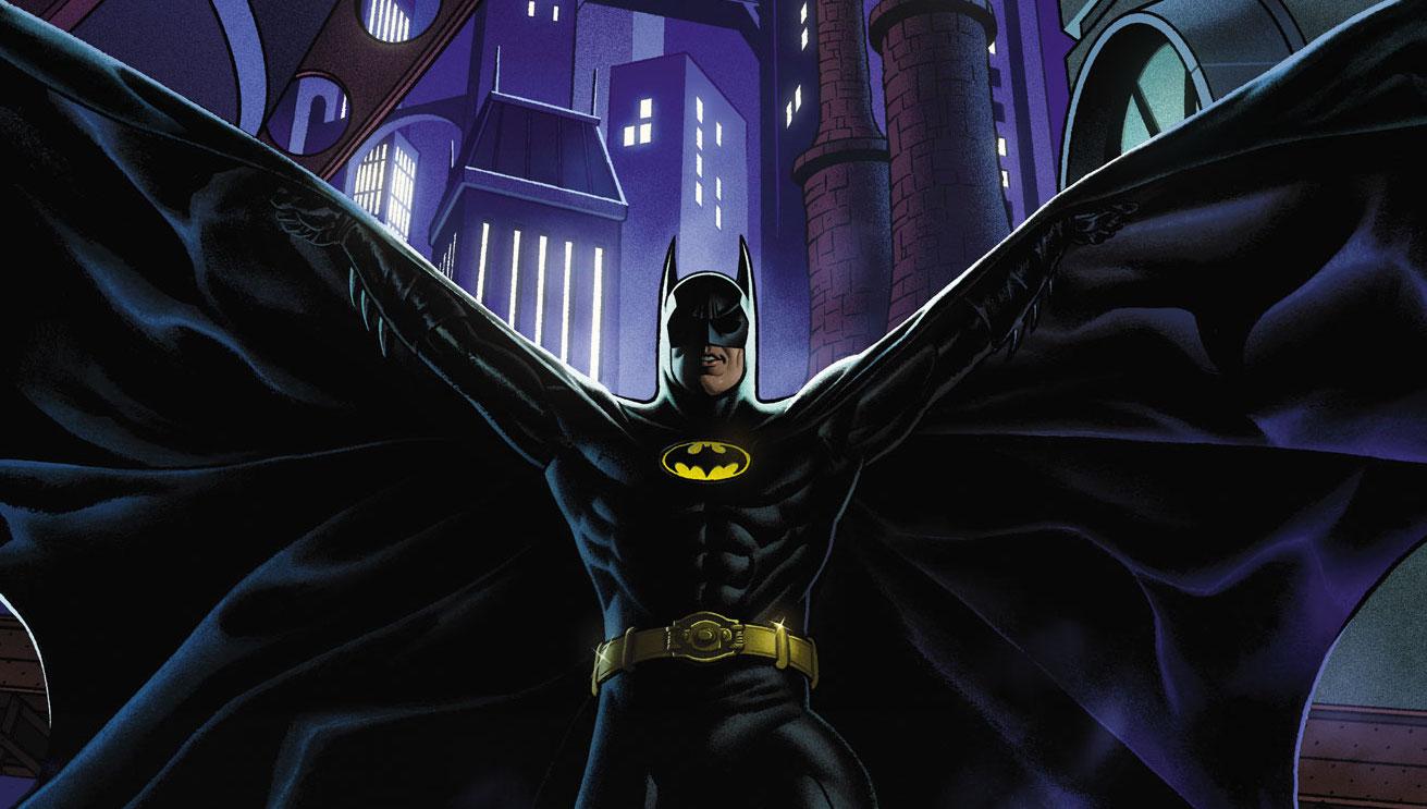 Michael Keaton's Batman swooping down in Gotham in his new DC Comics series Batman '89 (2021).