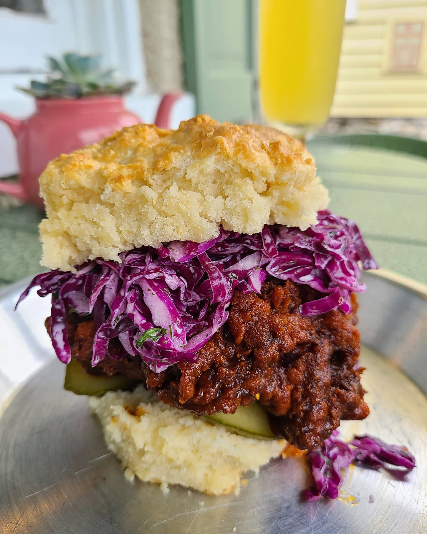The Nashville hot chicken biscuit with cabbage slaw at Buford's Biscuits