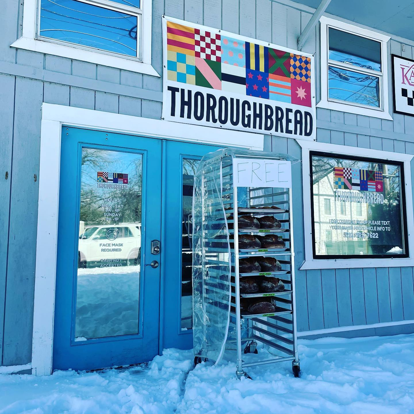 ThoroughBread left a rack of baked goods outside of its bakery