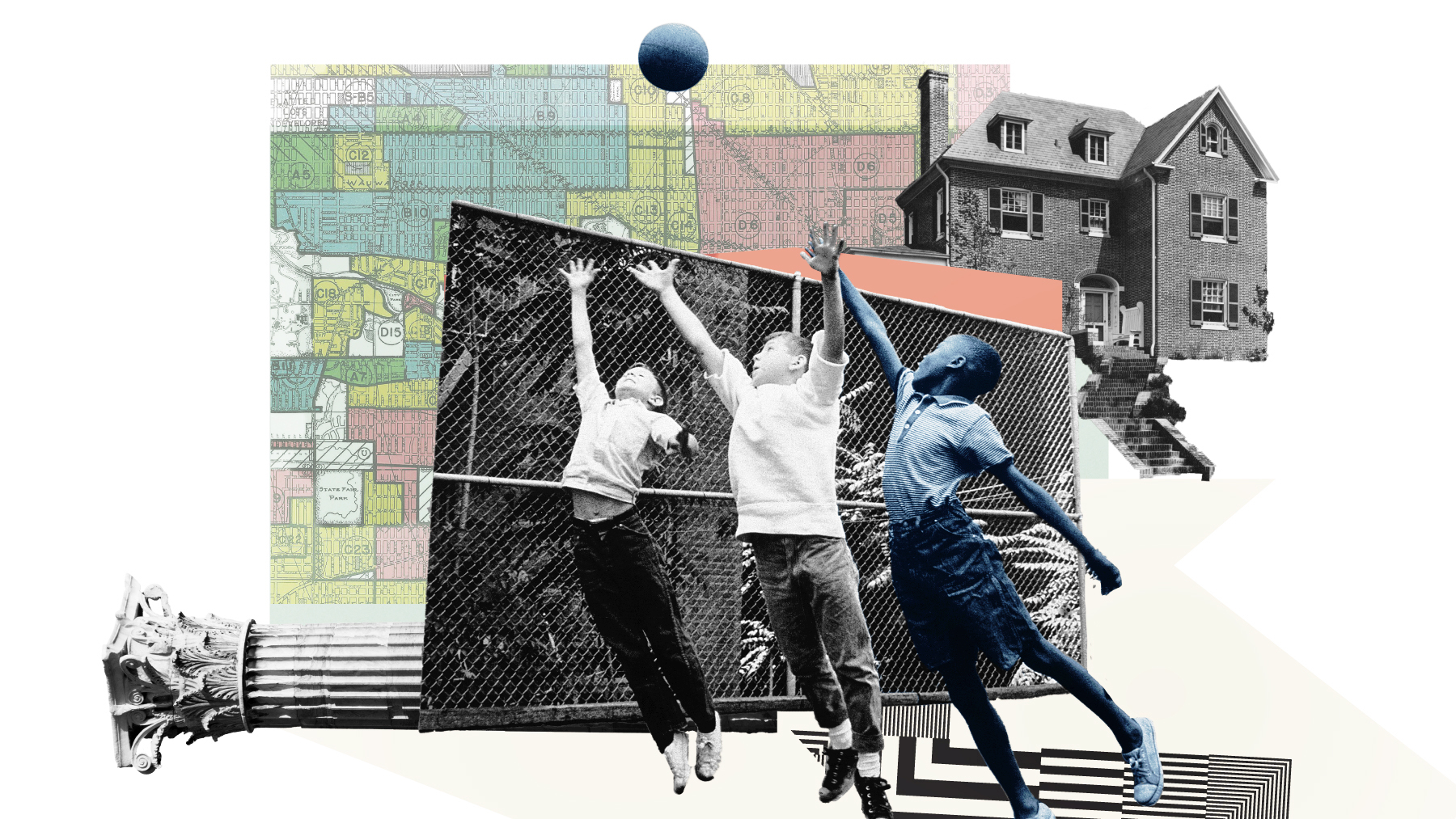 An illustration of white and Black children playing basketball and symbols of housing.