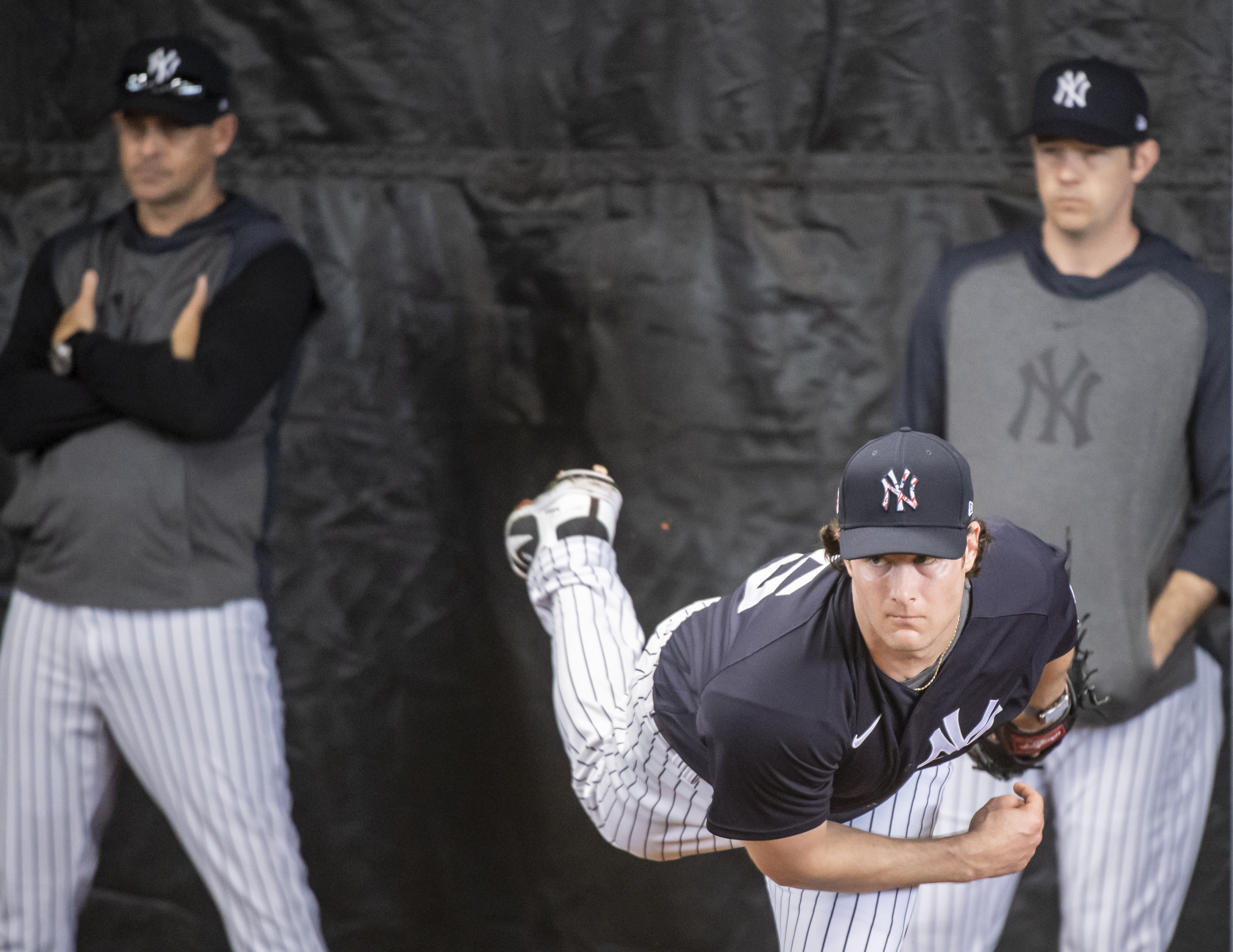 New York Yankees catcher Gerrit Cole throws in the bullpen at spring training 2020