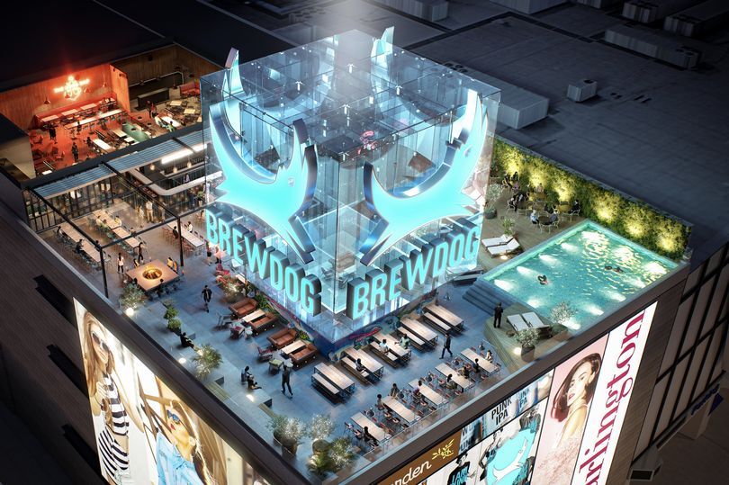 A rooftop bar with a swimming pool