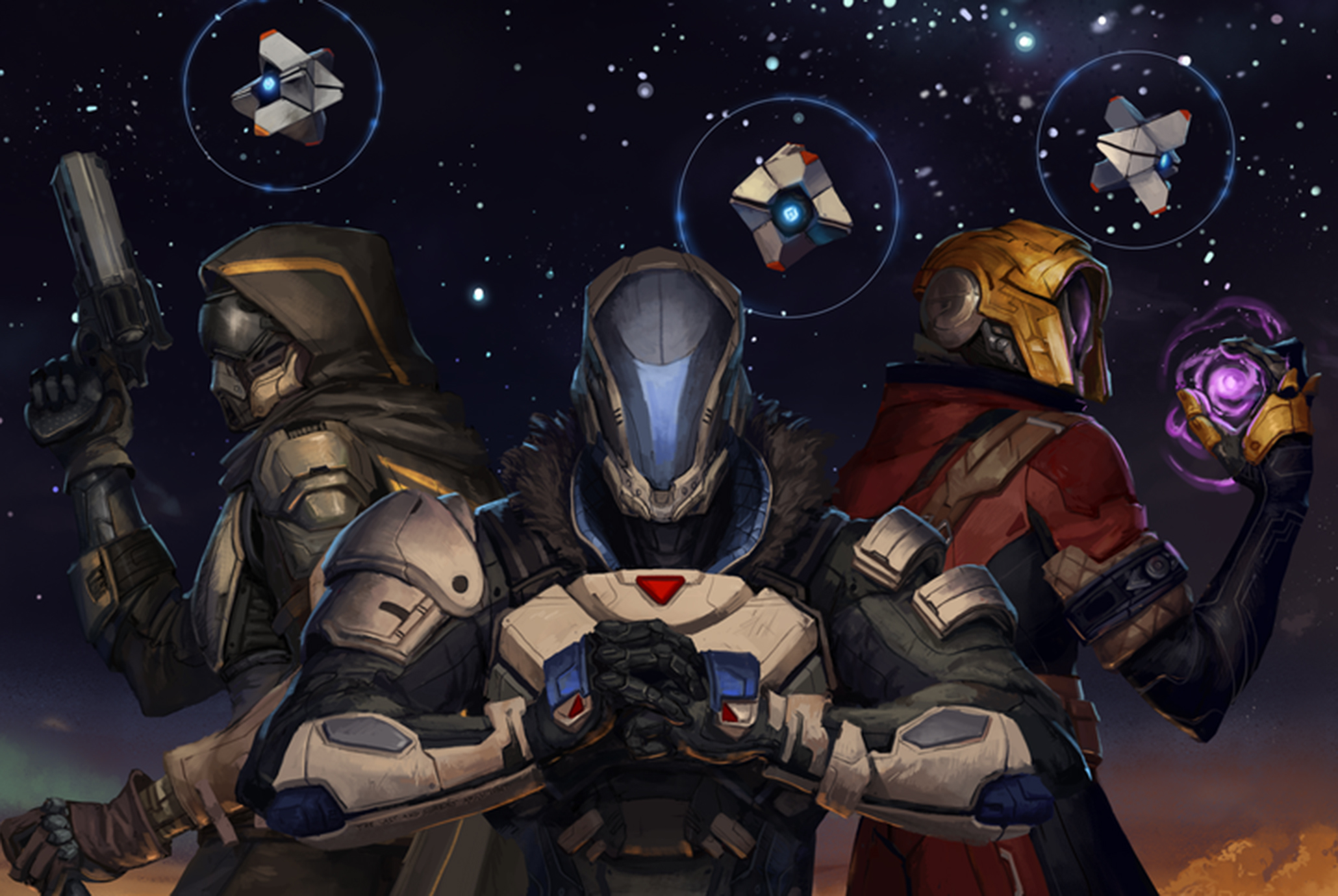 Three Guardians stand with their ghosts, weapons at the ready and the stars behind them.