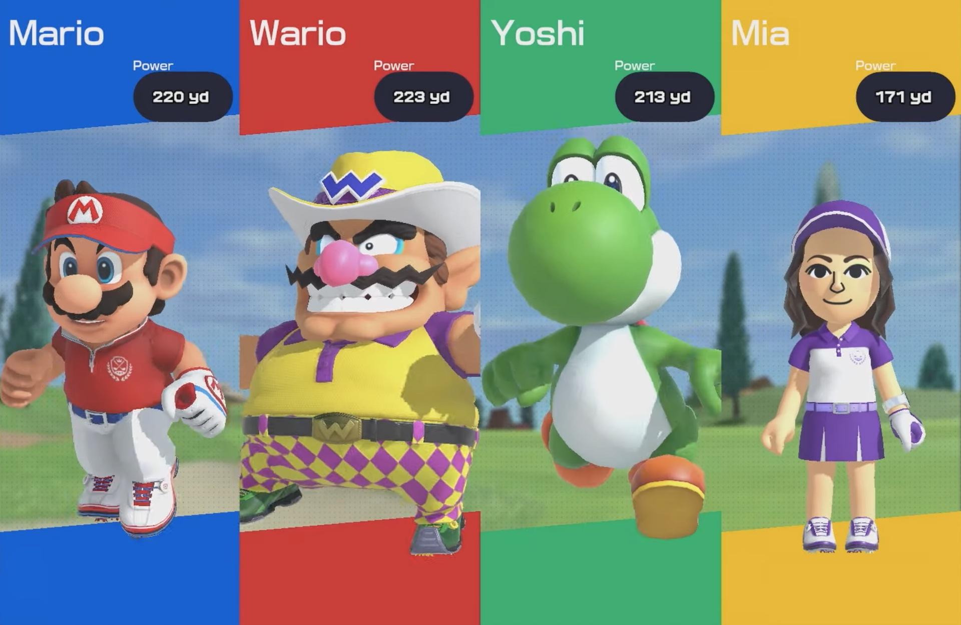 Mario, Wario, Yoshi, and Mia in Mario Golf: Super Rush