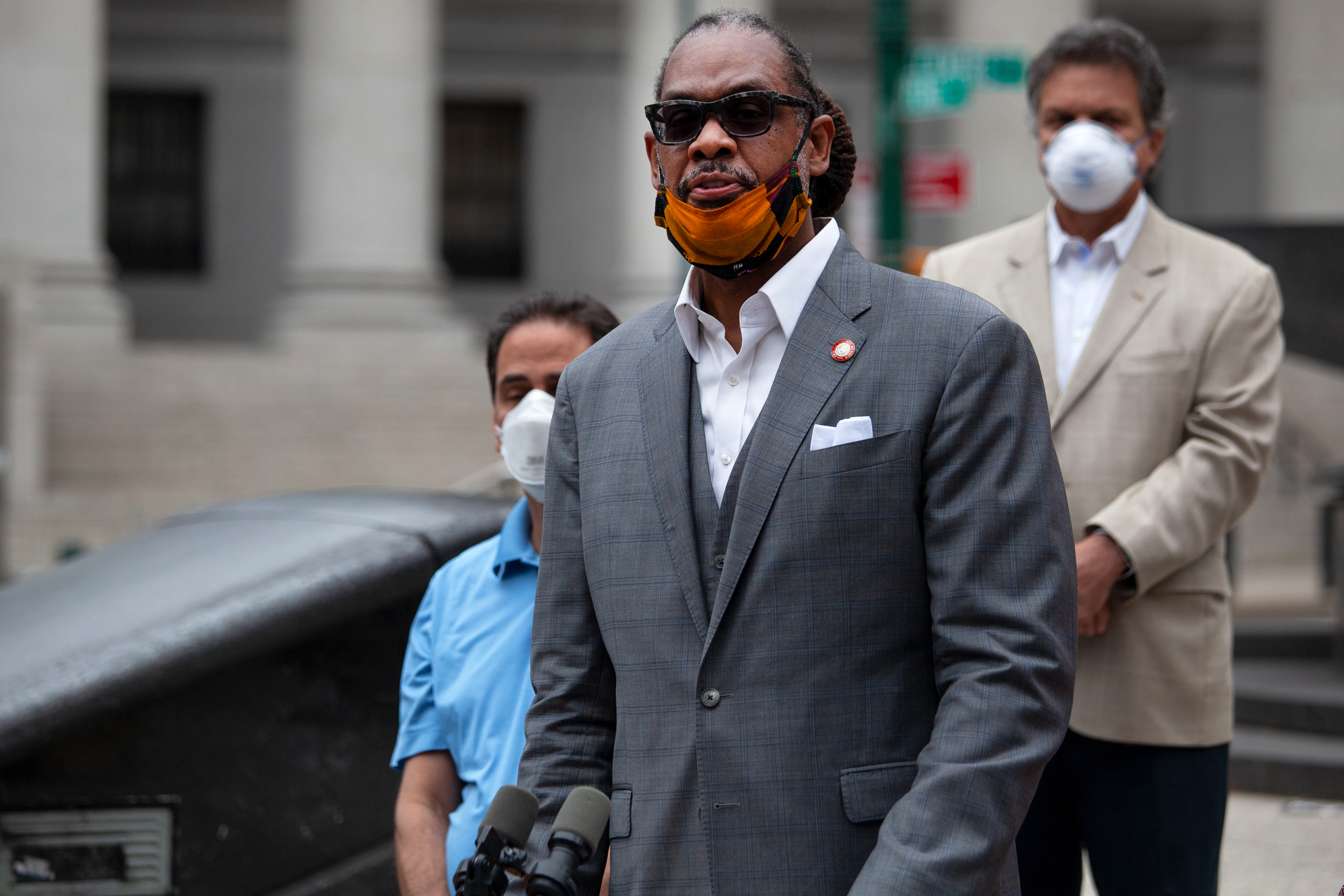 Councilmember Robert Cornegy (D-Brooklyn) calls for greater police accountability during a press conference in Foley Square, June 2, 2020.