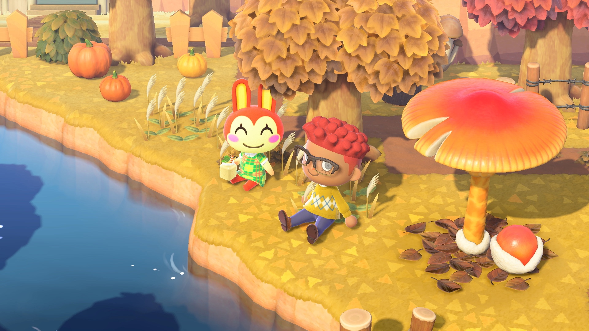 An island resident and bunny sit by a river in a screenshot from Animal Crossing: New Horizons