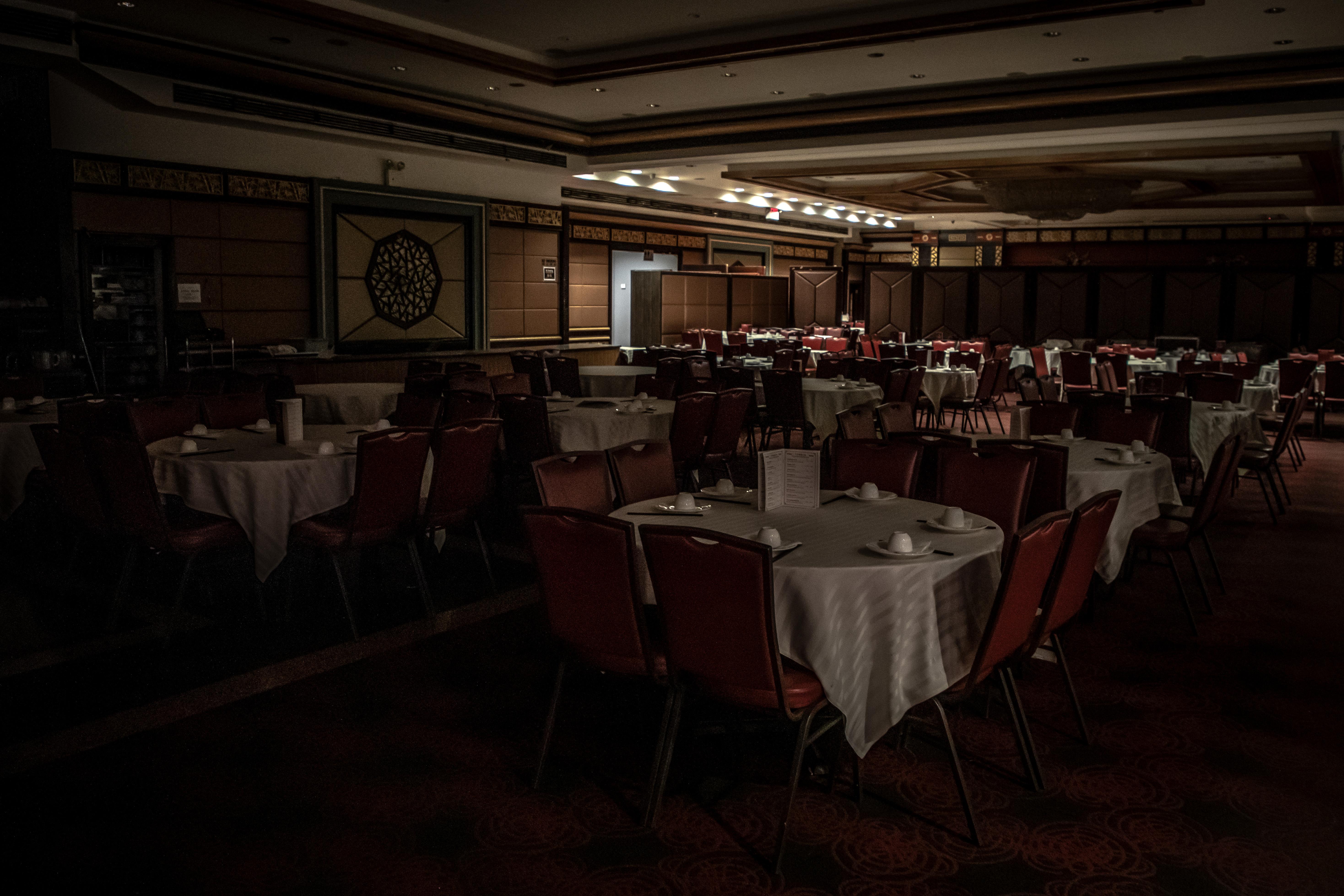 A darkened dining room