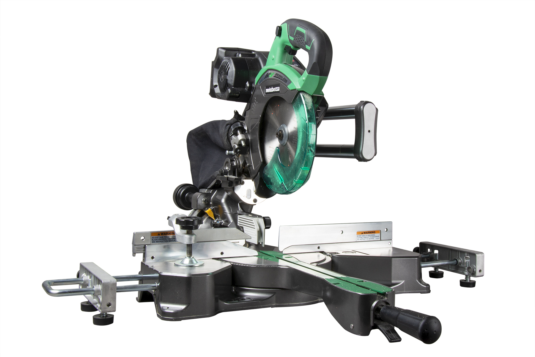 """The Metabo HPT 7-¼"""" sliding compound miter saw can be run cordless or corded and has a cut capacity of 2-9/32"""" x 12-13/64"""", making it capable of cross-cutting 2x12s with ease."""
