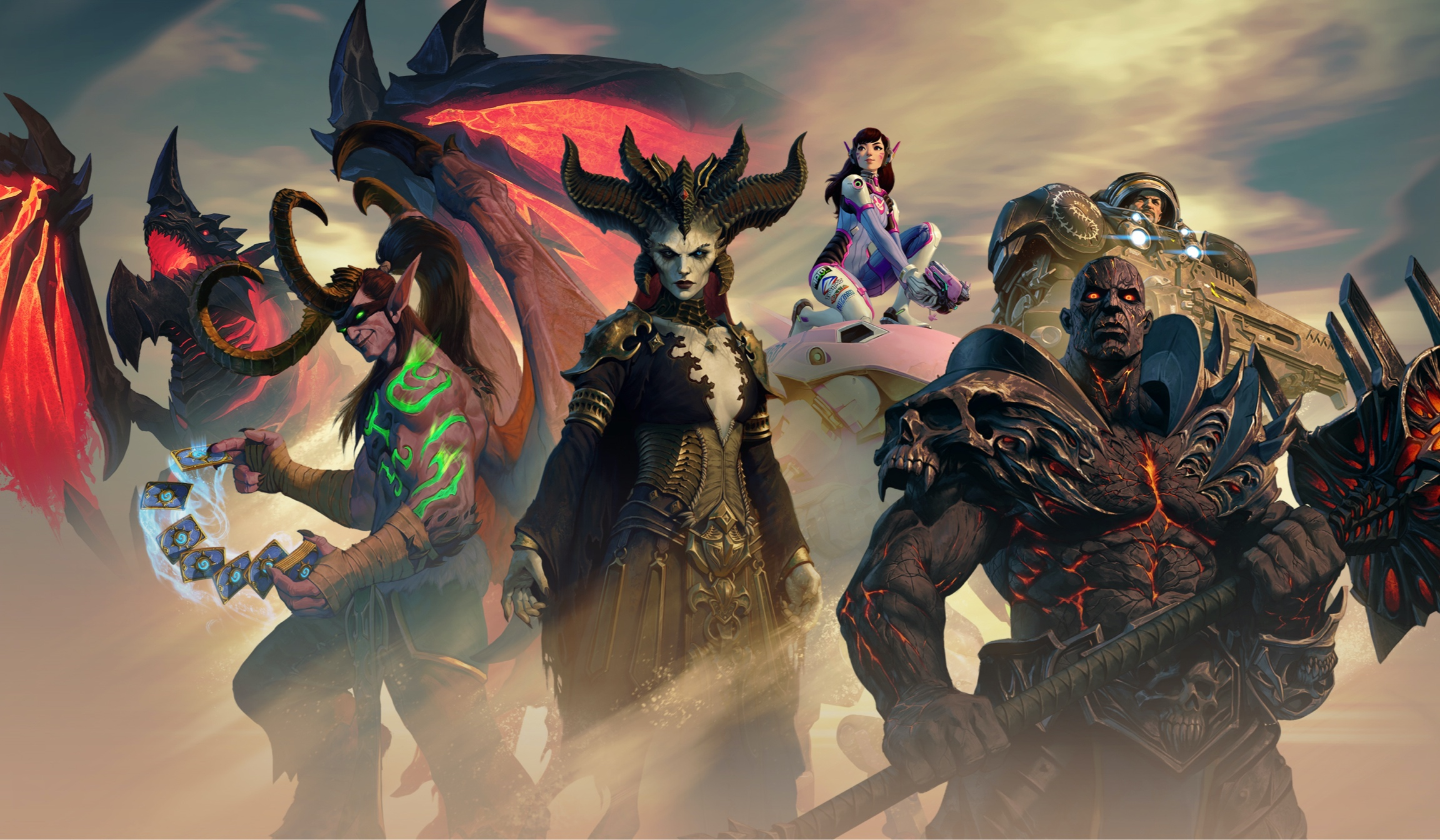 Artwork from BlizzConline featuring characters from Diablo 4, Overwatch, World of Warcraft, and StarCraft.