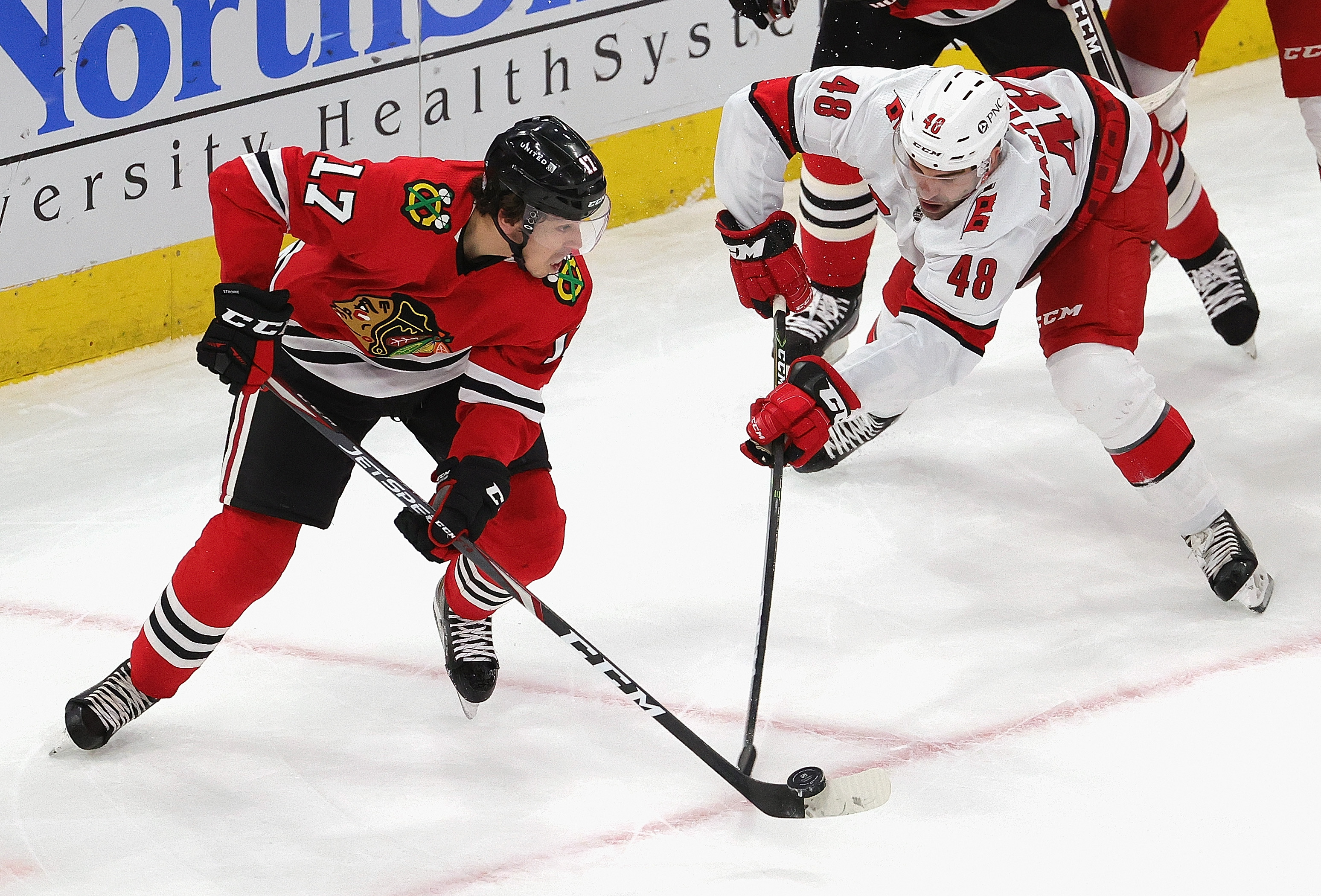The Blackhawks and Hurricanes' game scheduled for Saturday was postponed, although Friday's game will be played as planned.