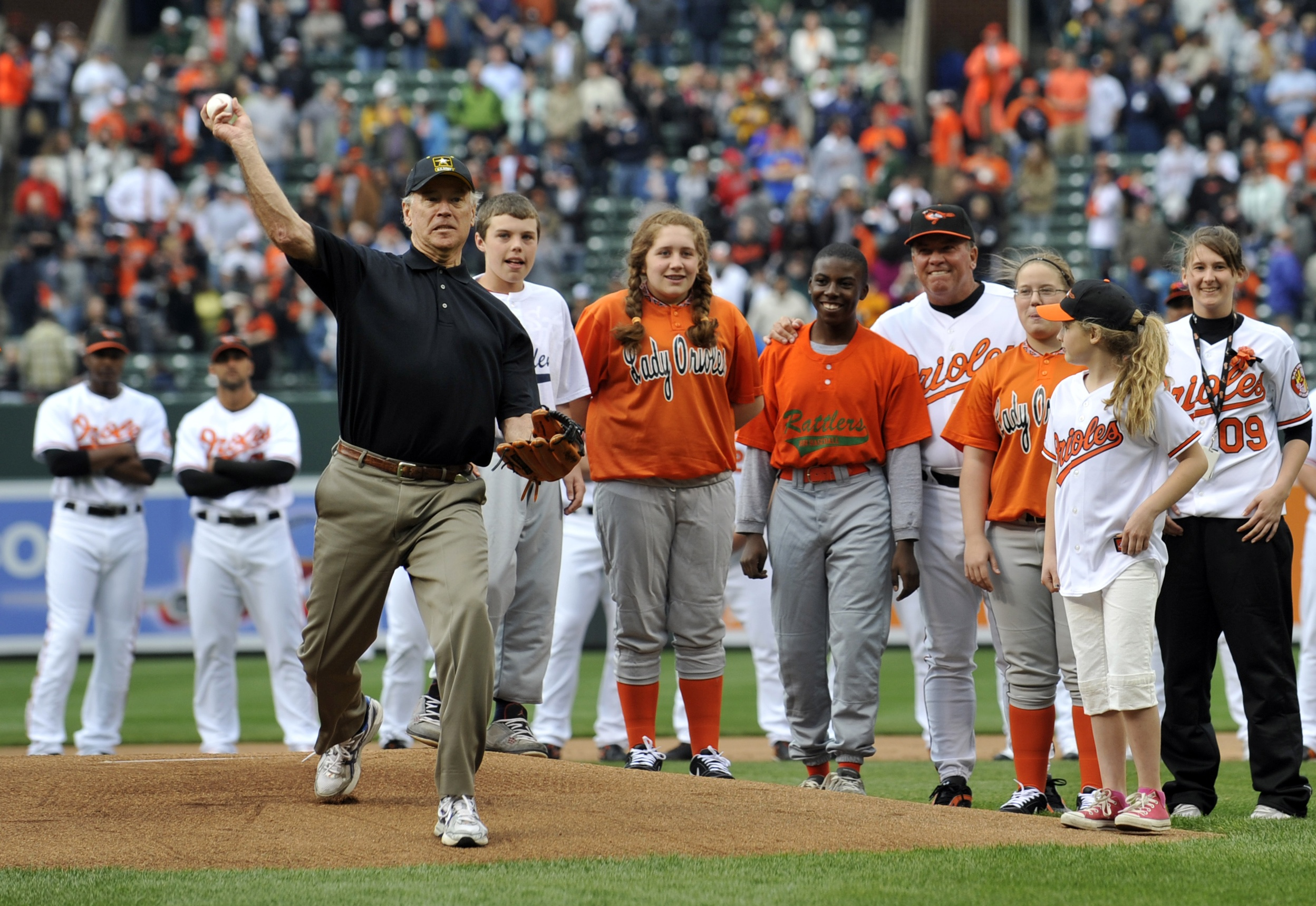 Then-vice president Joe Biden throws out the first pitch on Opening Day at Camden Yards in Baltimore in 2009.