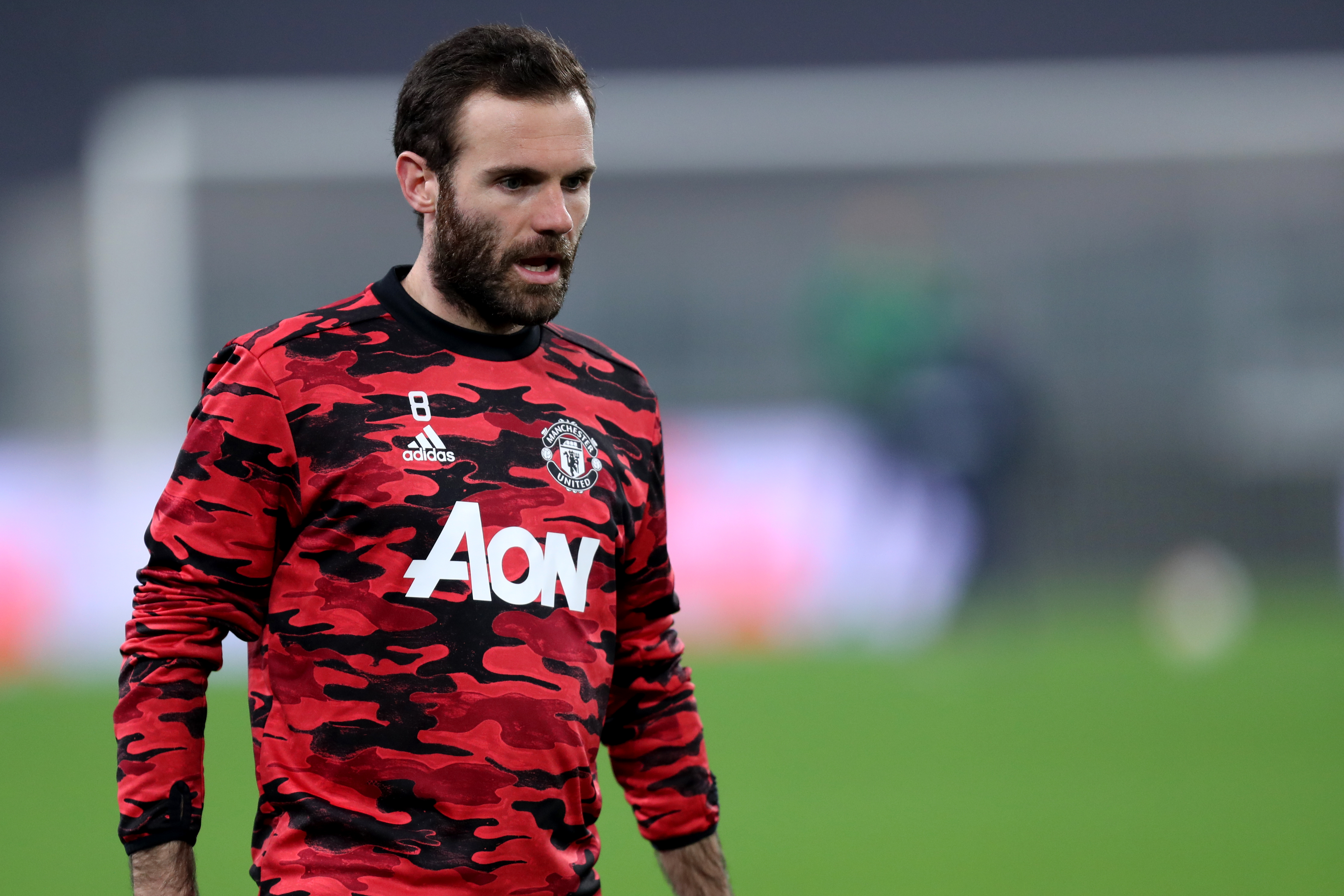 Juan Mata of Manchester United Fc looks on during warm up...