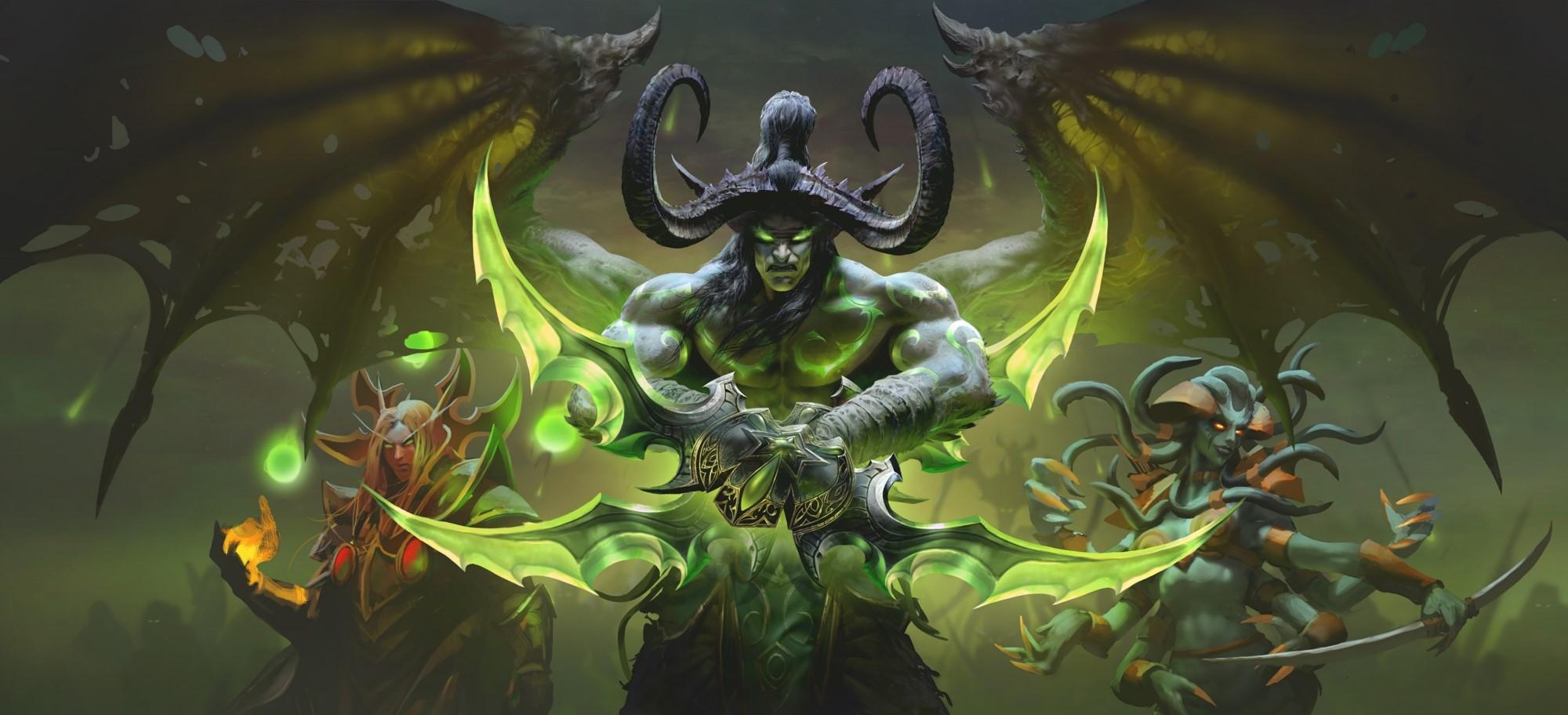 World of Warcraft: Burning Crusade Classic - Illidan Stormrage, Kael'thas Sunstrider, and Lady Vashj all pose menacingly for the camera.