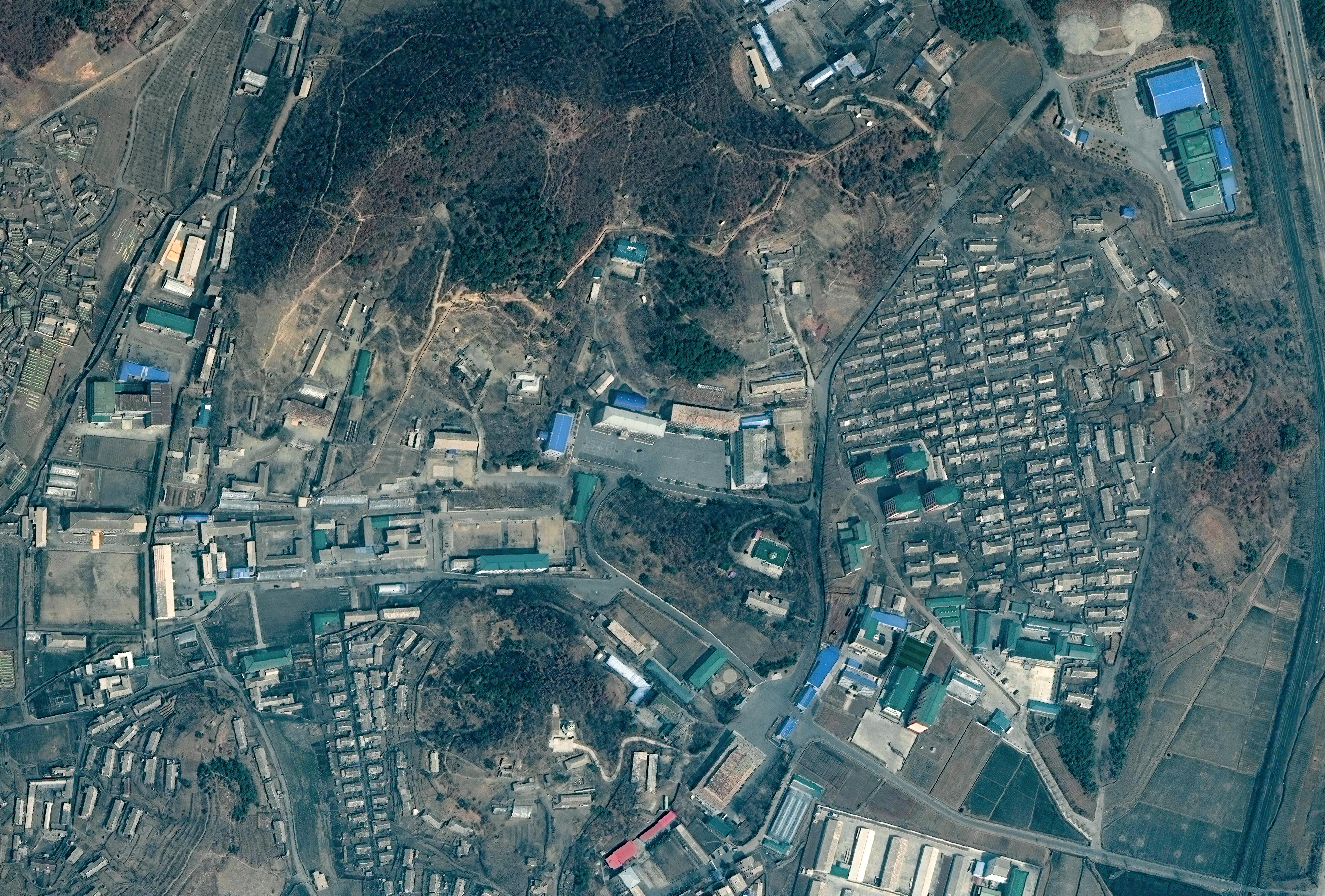 RECONNAISSANCE GENERAL BUREAU HEADQUARTERS, NORTH KOREA — MARCH 21, 2020: Maxar closeup satellite imagery of the former location of the Reconnaissance General Bureau Headquarters.
