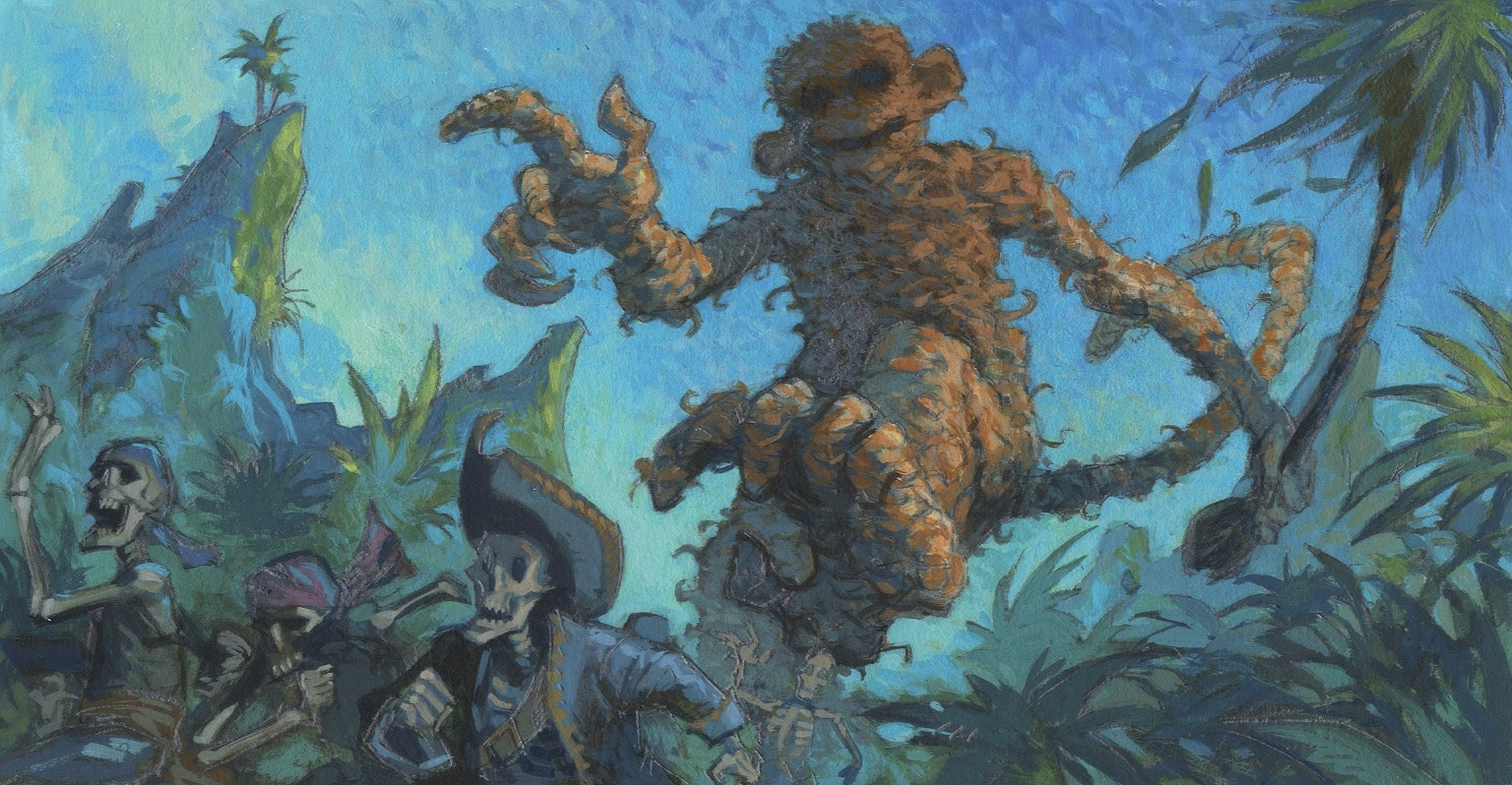 An illustration shows a giant monkey chasing a pirate
