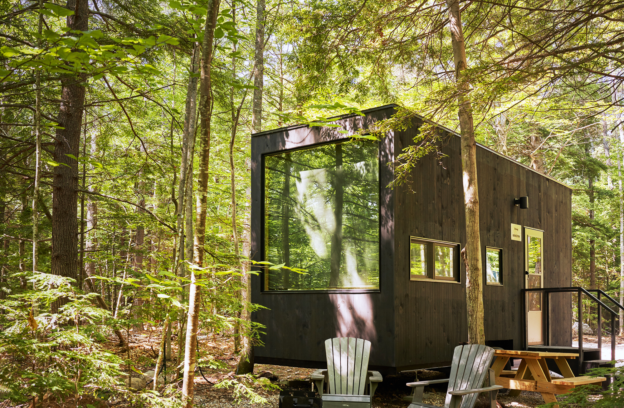 Getaway cabin in New York with large windows surrounded by green forest and lawn chairs.