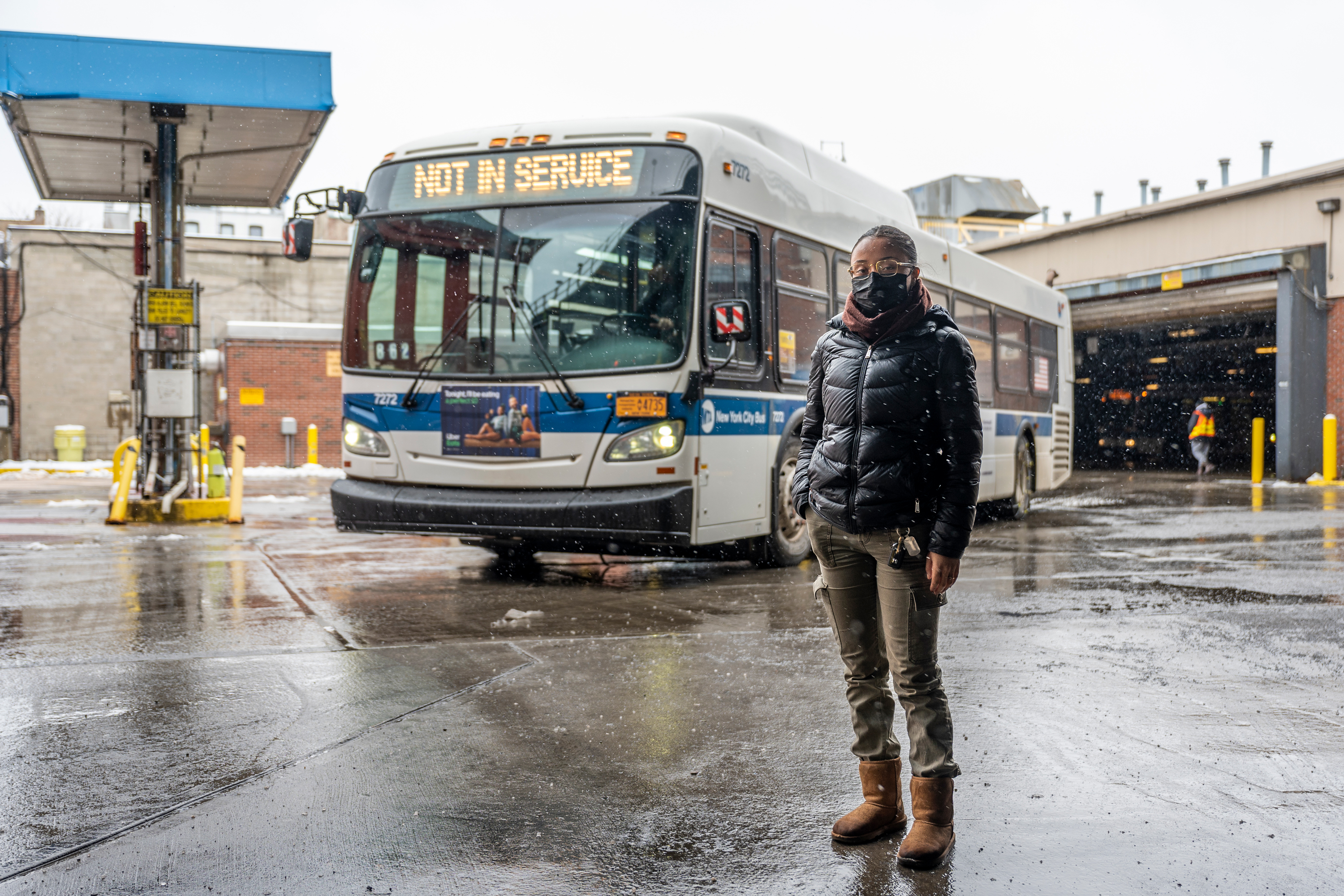 Sandra Diaz has been taking part in an MTA mechanical apprenticeship at the Fresh Pond bus depot, Feb. 19, 2021.