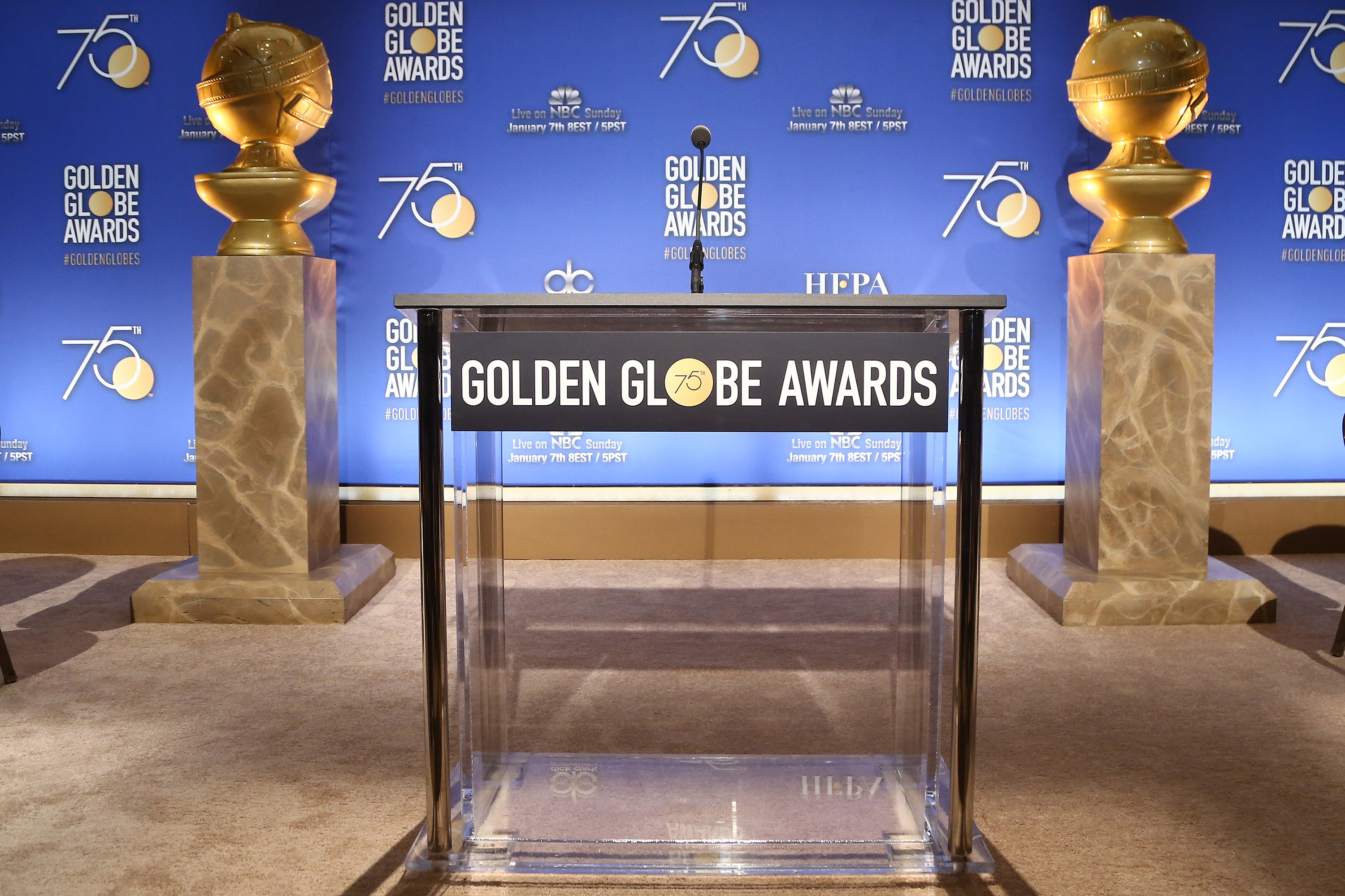 A general view of the atmosphere during the 75th Annual Golden Globe Nominations Announcement on December 11, 2017 in Los Angeles, California.