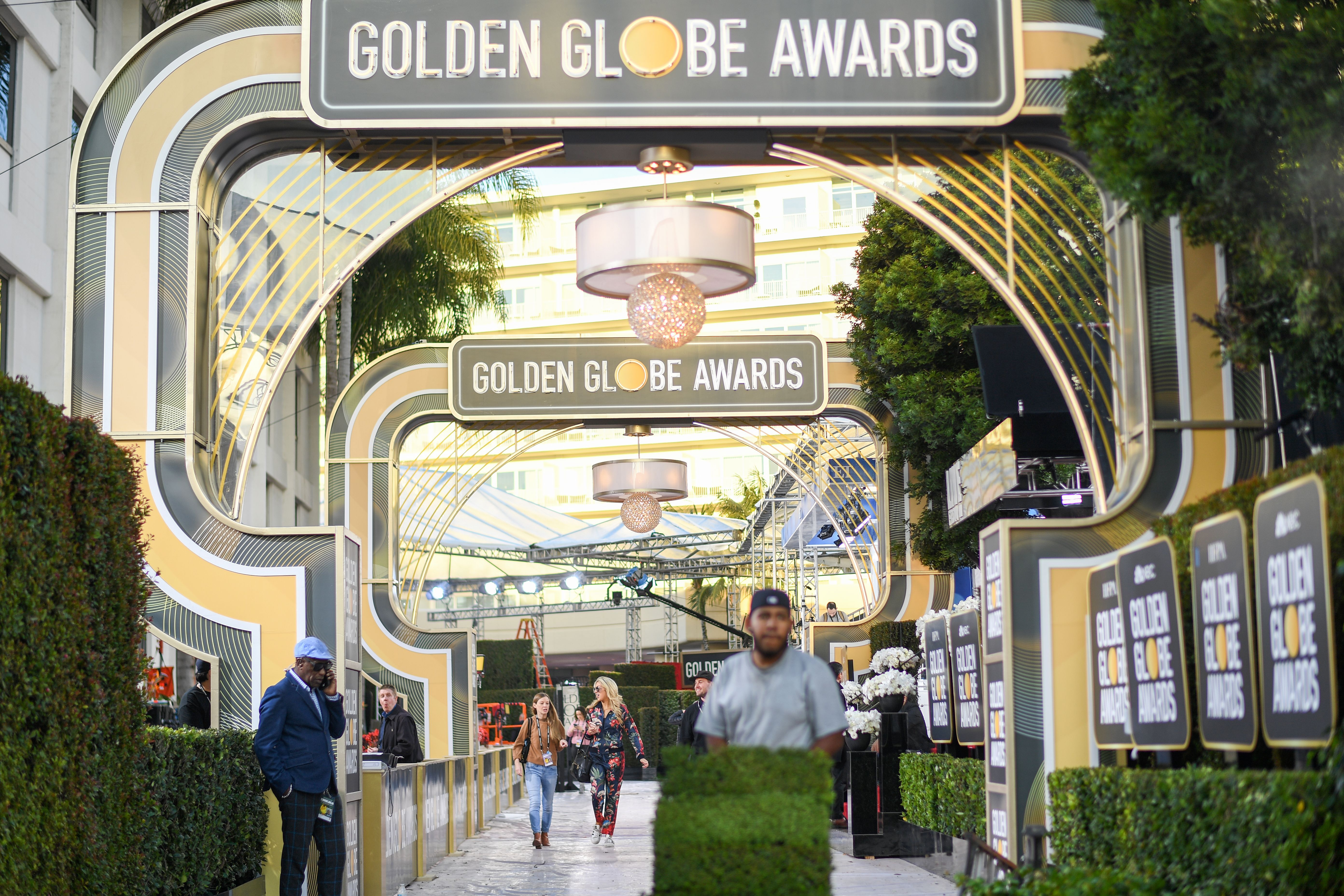 General view of the red carpet set up at the Golden Globes 2020 at The Beverly Hilton, in Beverly Hills, California, on January 4, 2020.