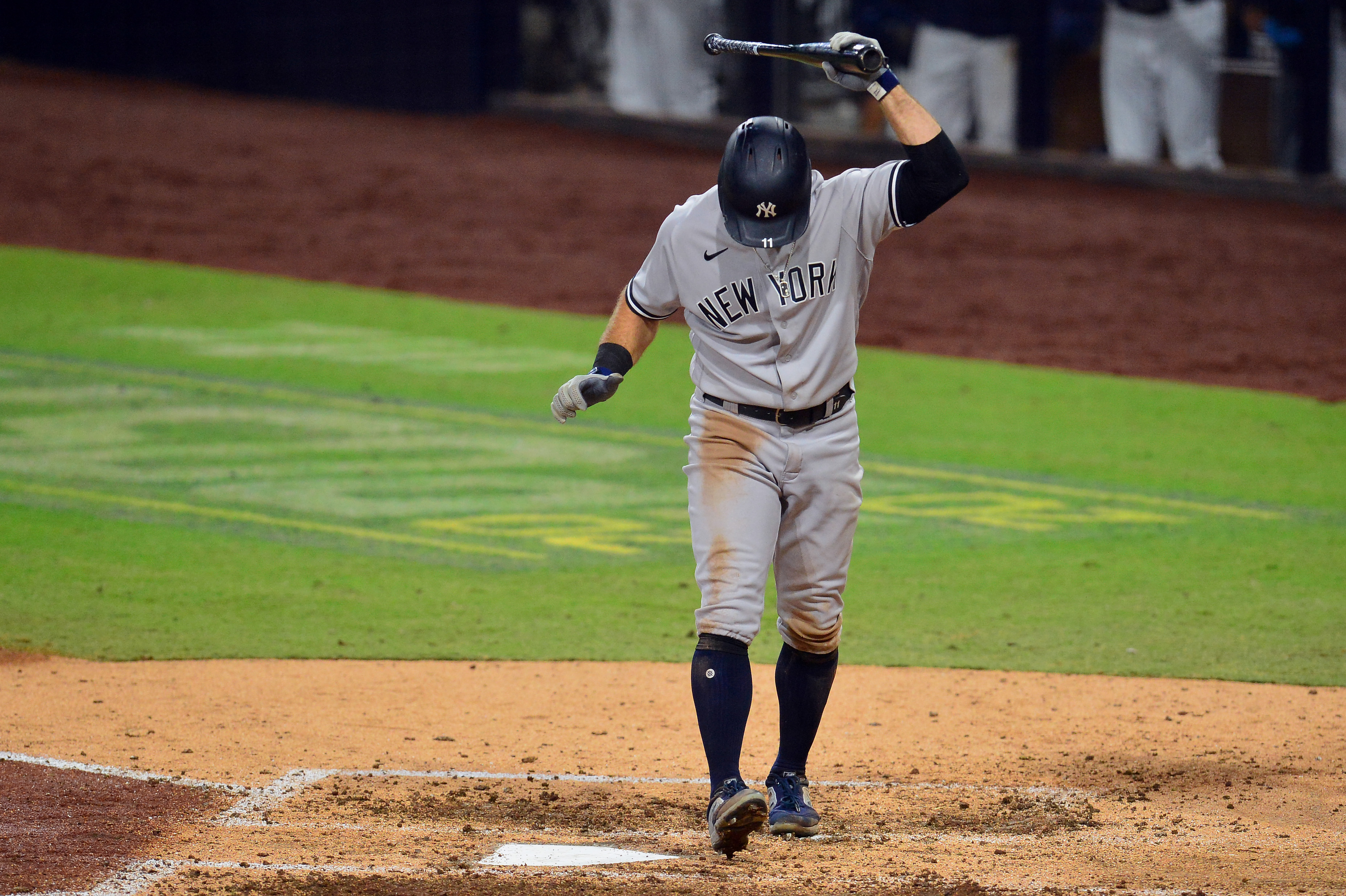 New York Yankees left fielder Brett Gardner (11) reacts after striking out against the Tampa Bay Rays to end the top of the seventh inning of game five of the 2020 ALDS at Petco Park.